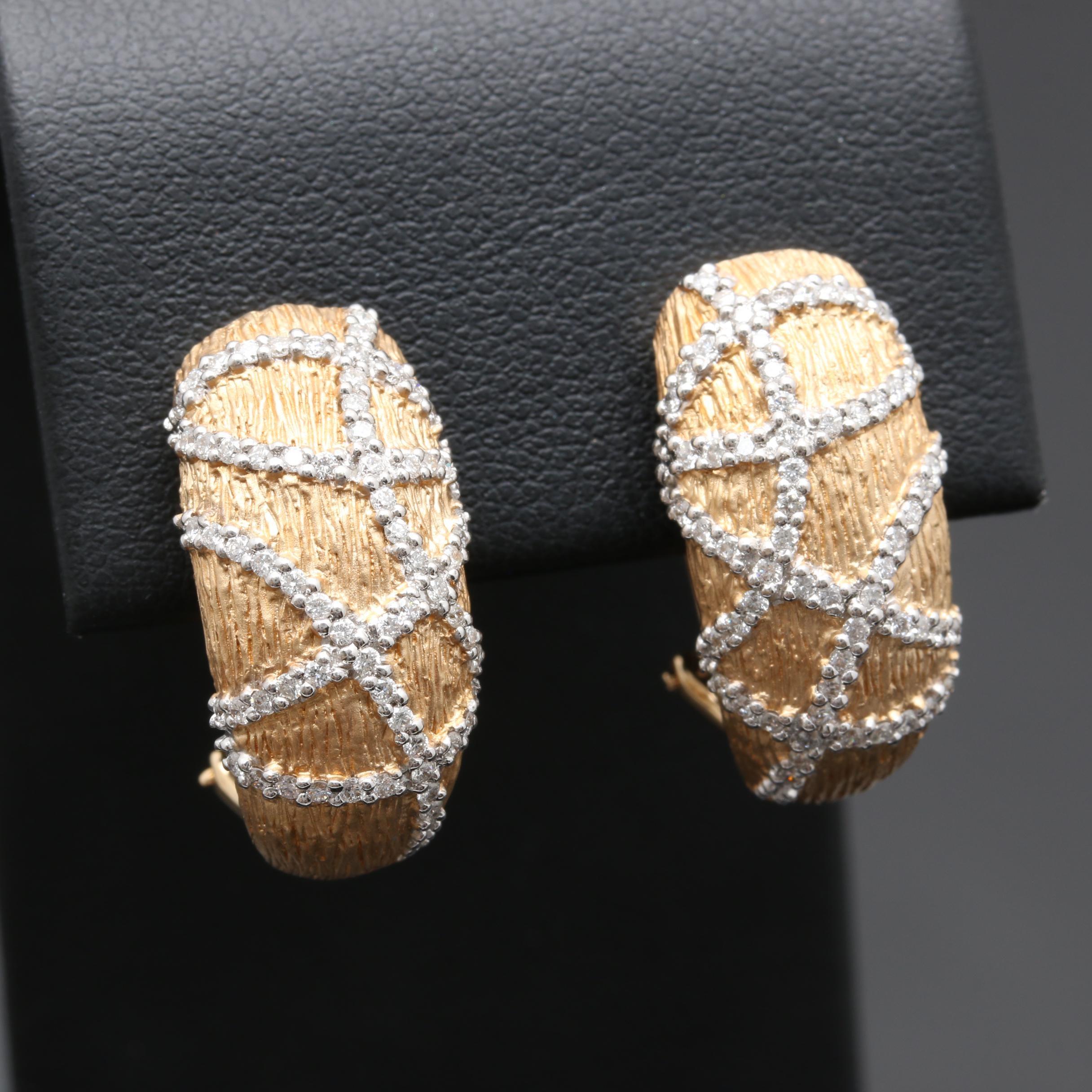 14K Yellow Gold Diamond J-Hoop Earrings