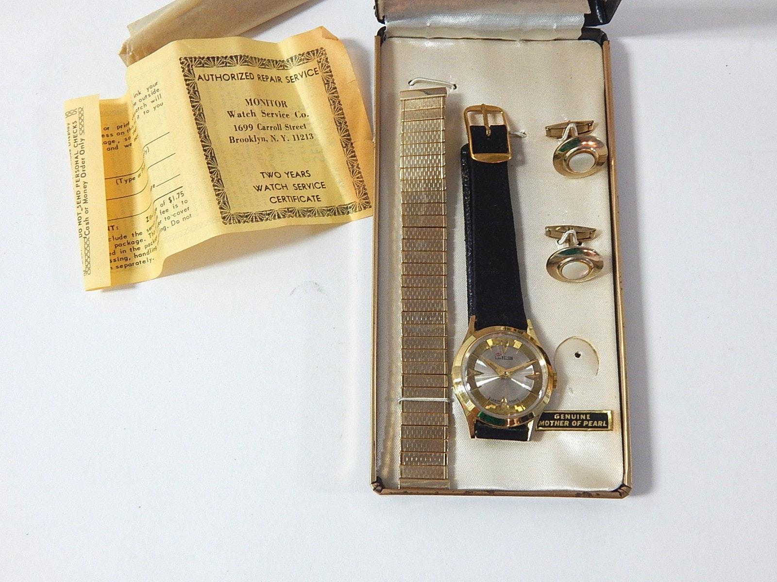 Vintage Lord Nelson Swiss Wristwatch with MOP Cufflinks