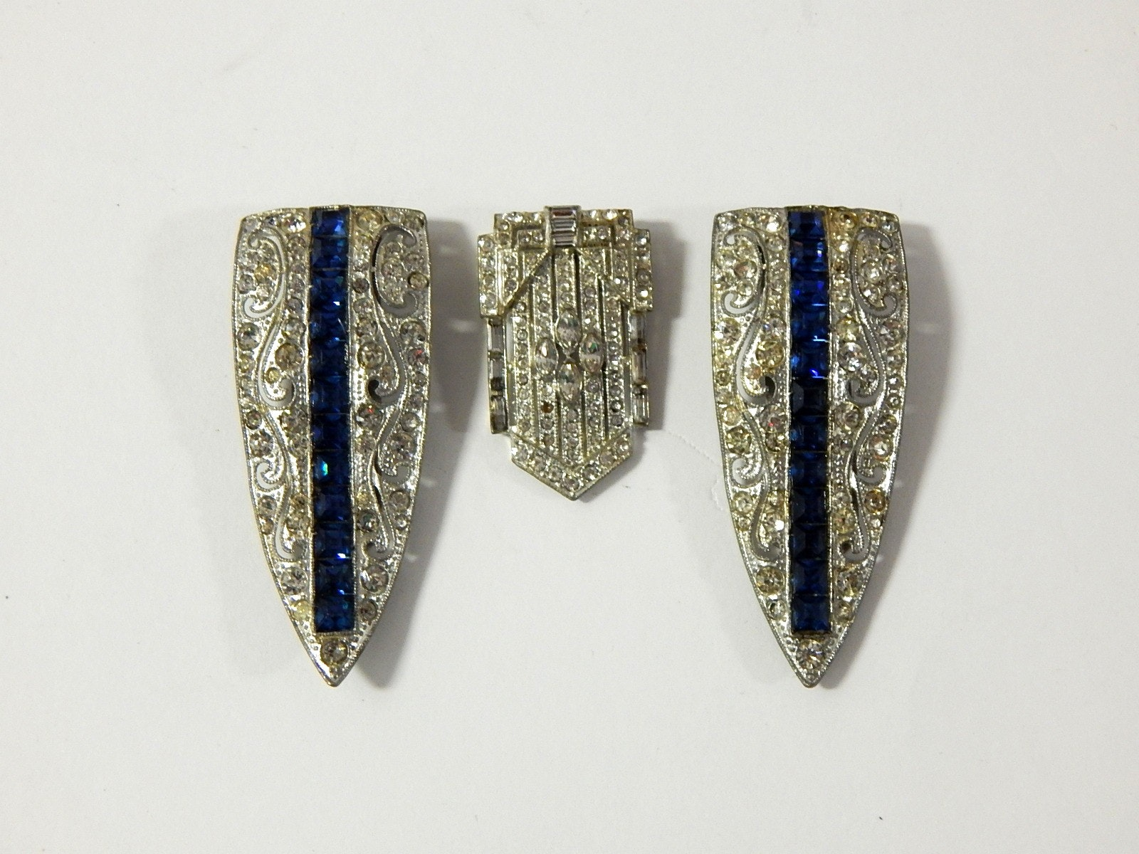 Patented 1852 Rhinestone Shoe Clips and Art Deco Clip