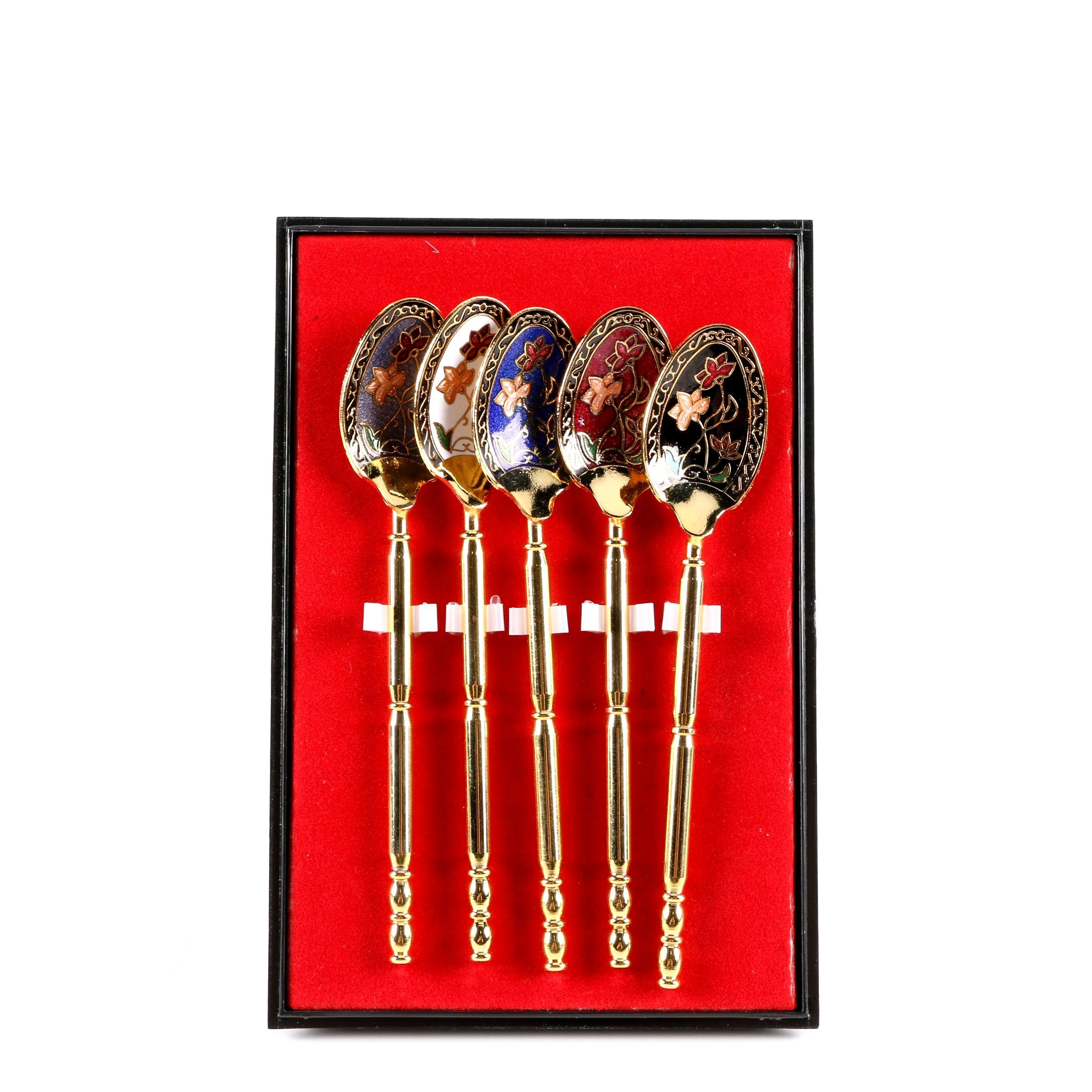 Russian Style Enameled Sugar Spoons