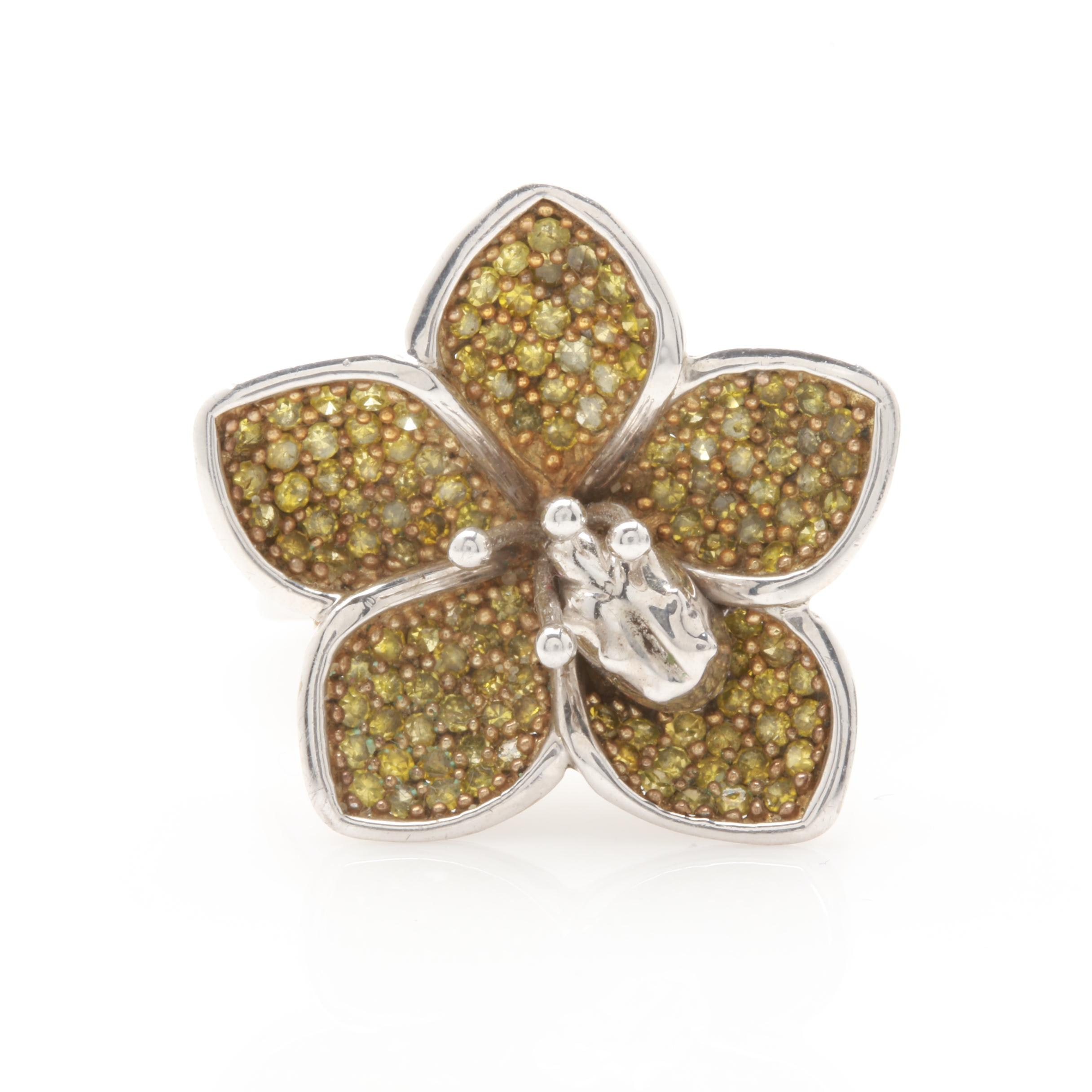 Sterling Silver Yellow Diamond Flower Ring