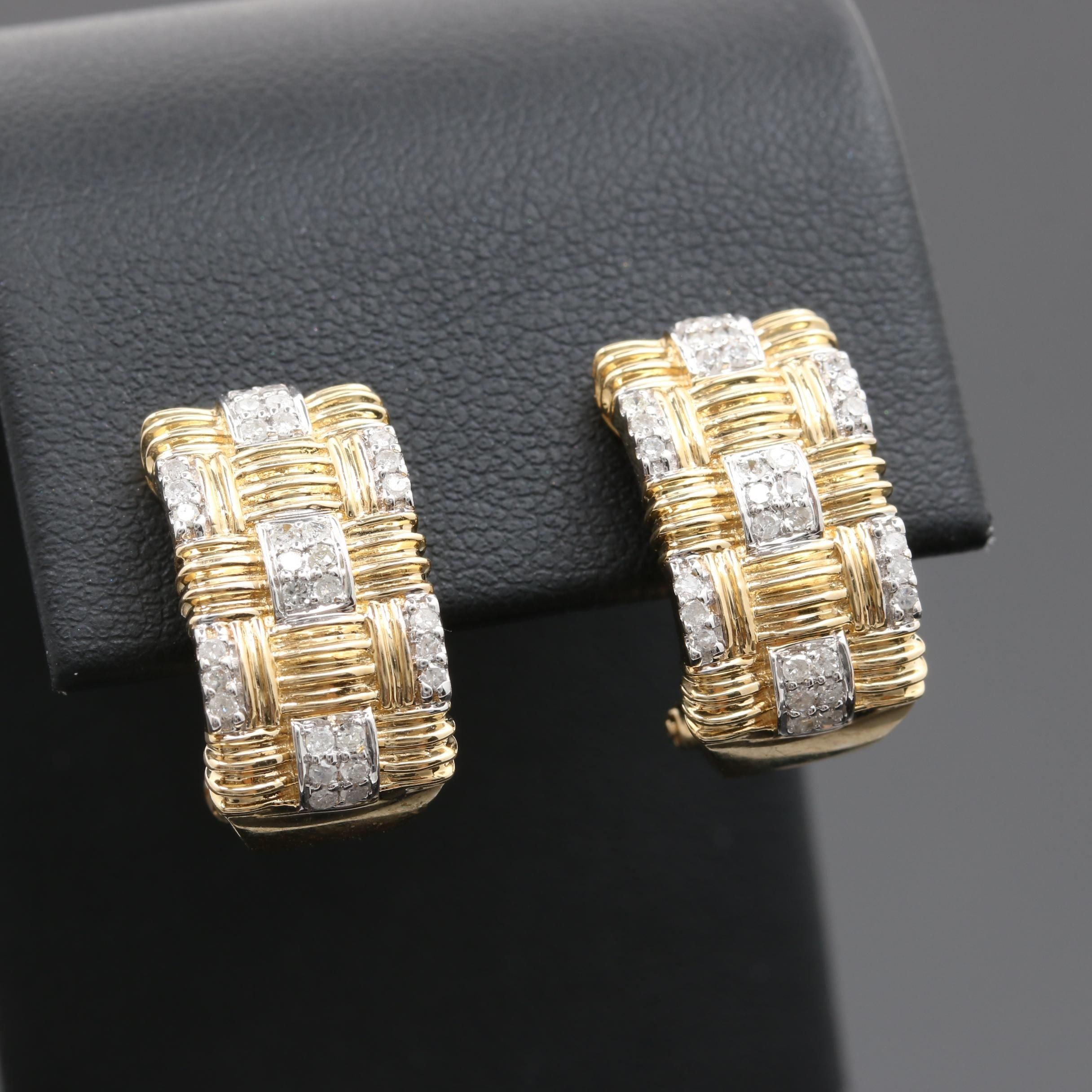 14K Yellow Gold Diamond J-Hoop Earring with 14K White Gold Accents