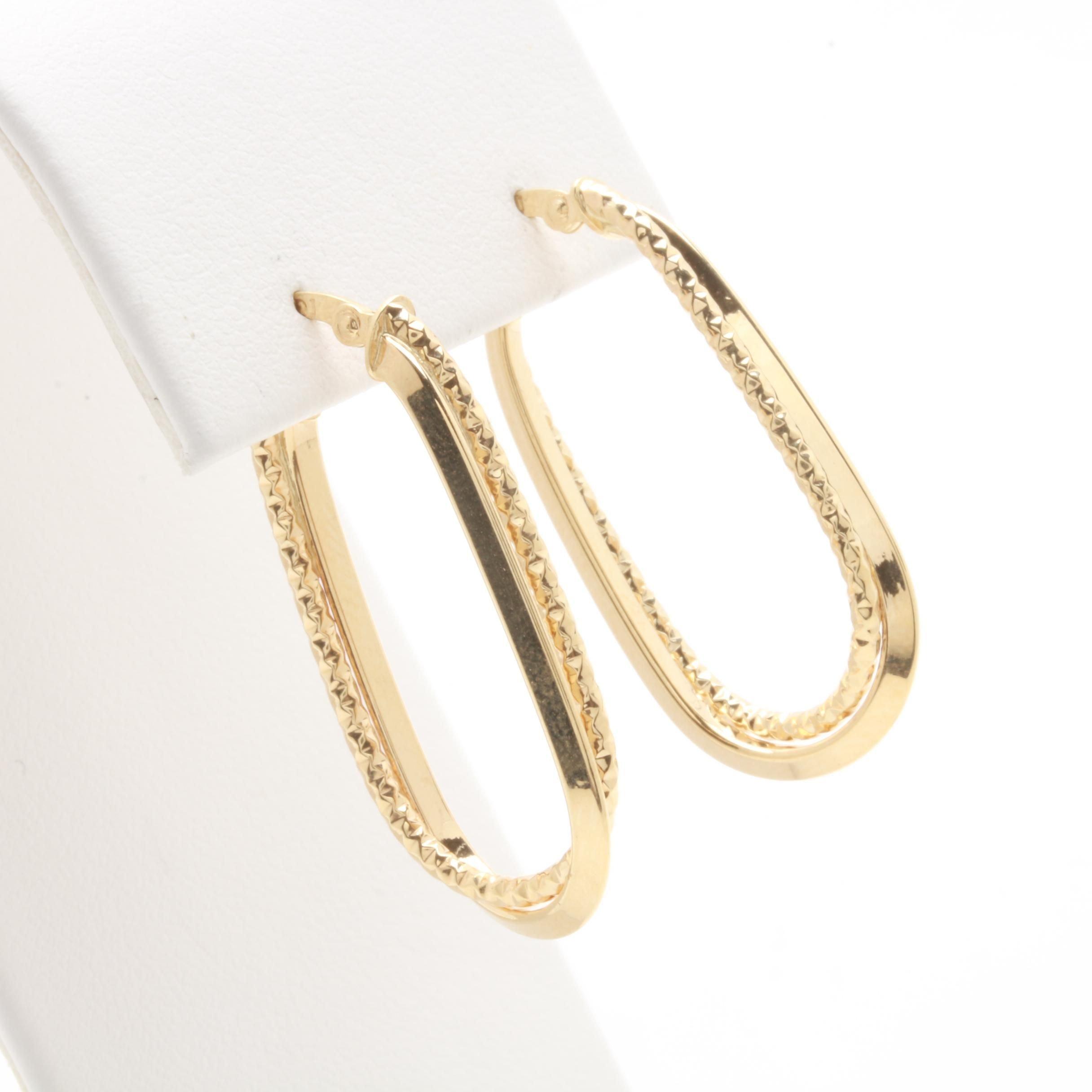 14K Yellow Gold Oblong Hoop Earrings