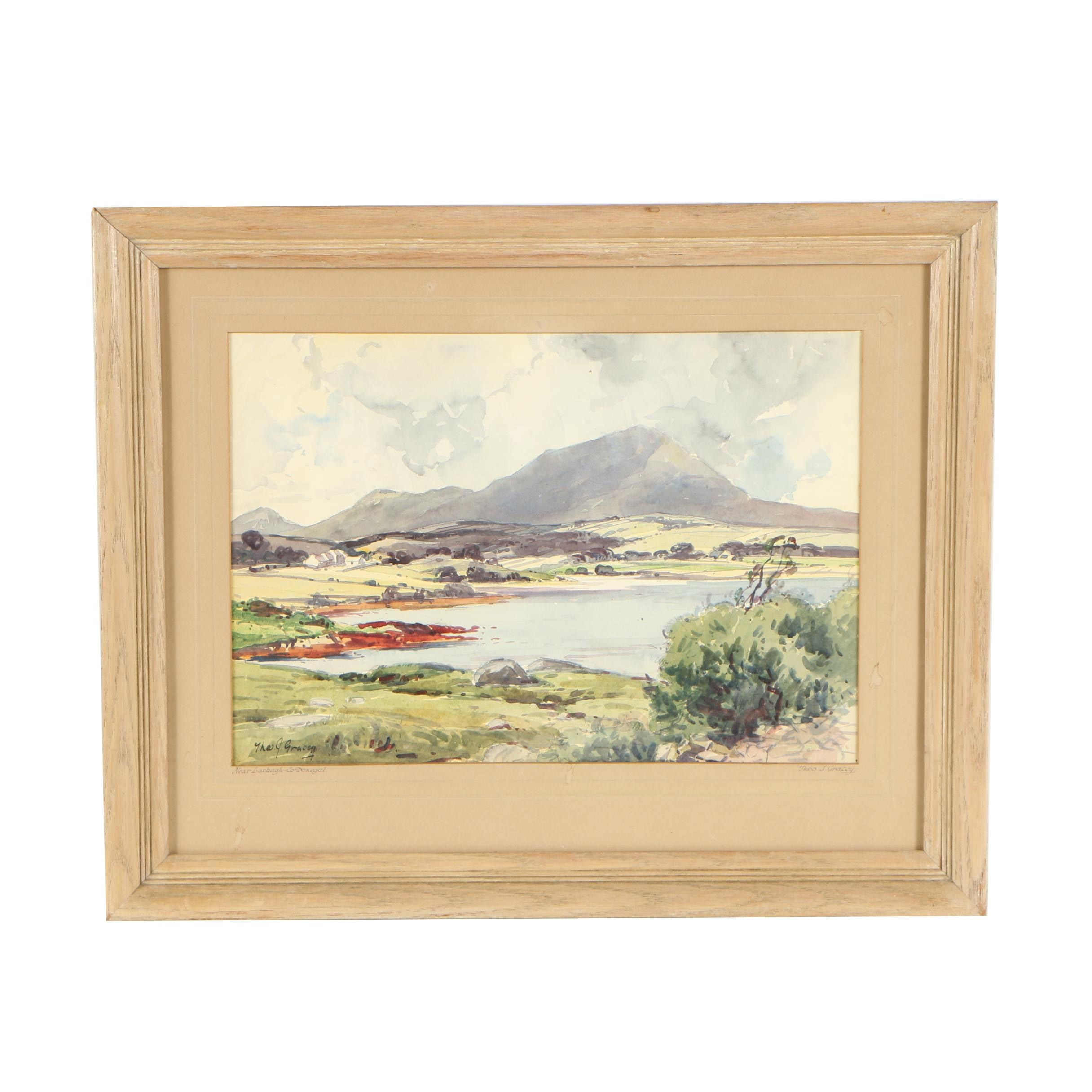 "Theodore J. Gracey Watercolor Painting ""Near Lackagh - Co. Donegal"""