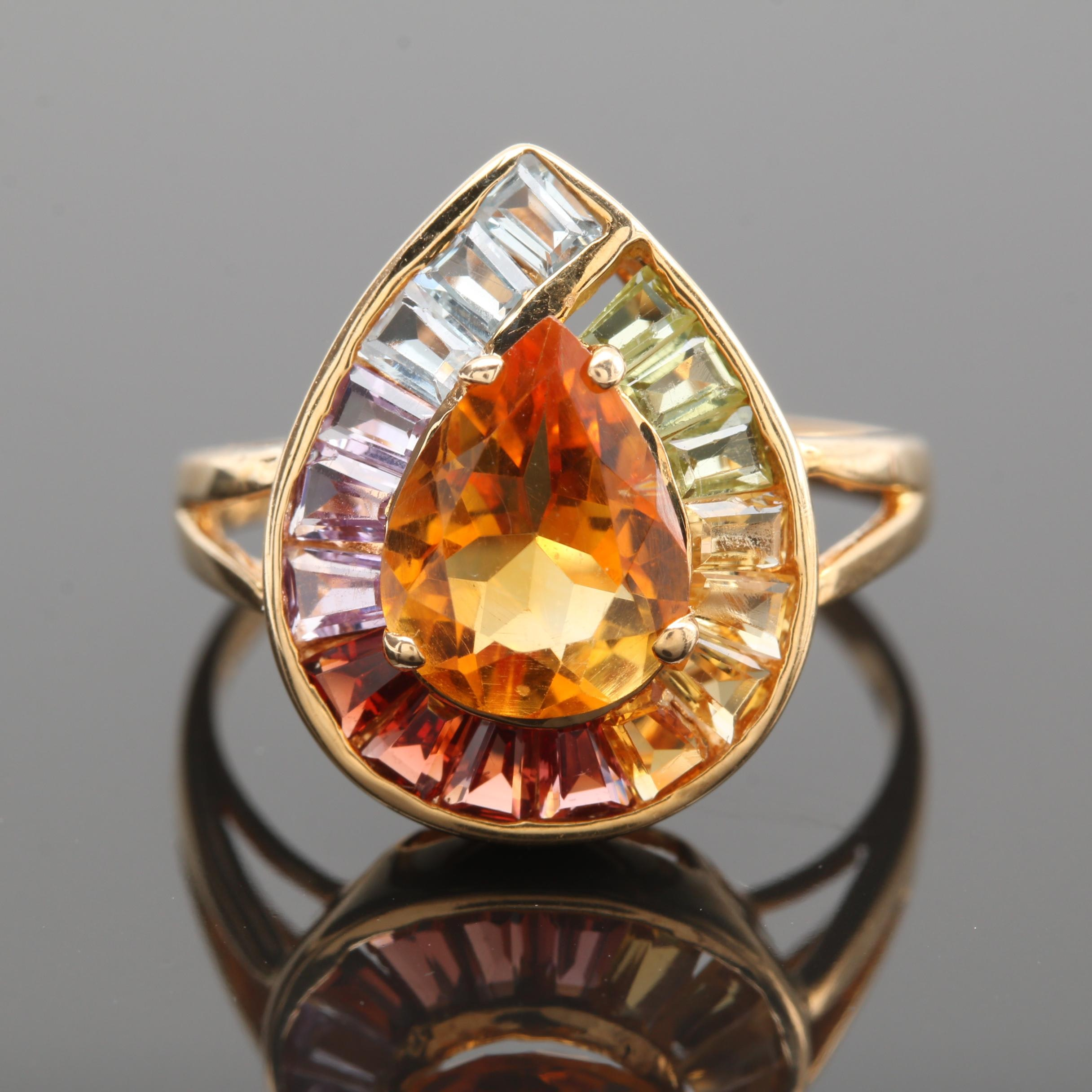 14K Yellow Gold Gemstone Ring Including Citrine