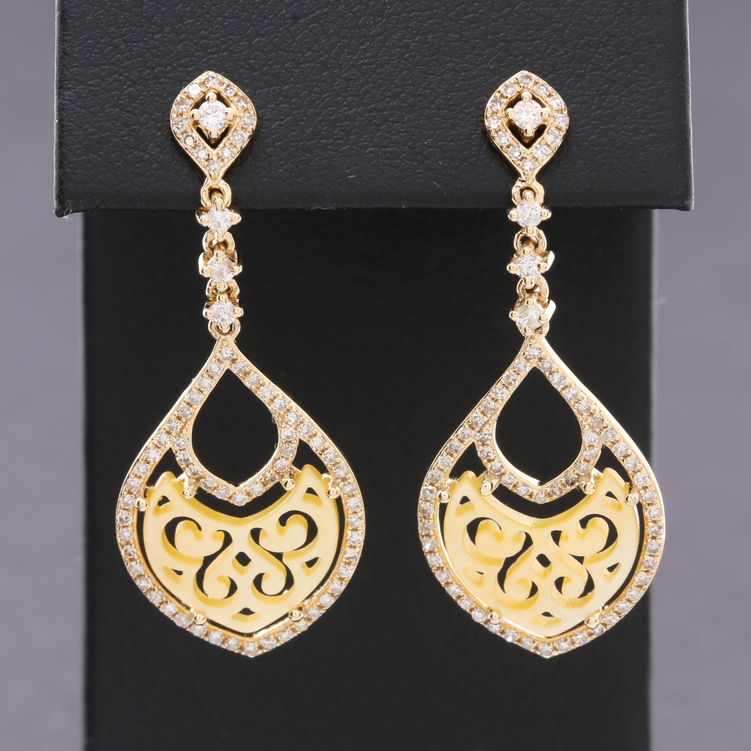 14K Yellow Gold Diamond and Mother of Pearl Dangle Earrings