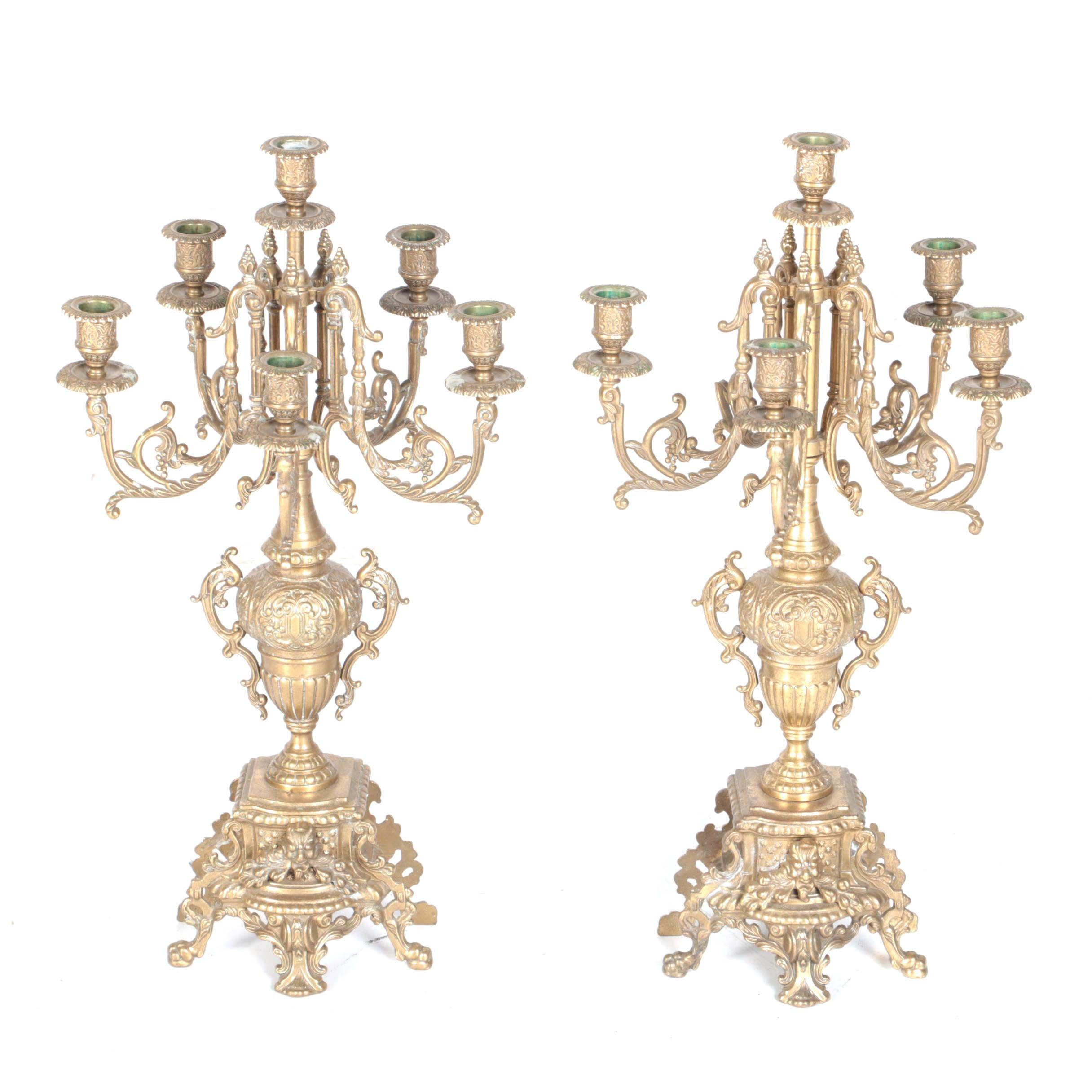 Vintage Brass Victorian-Style Girandoles