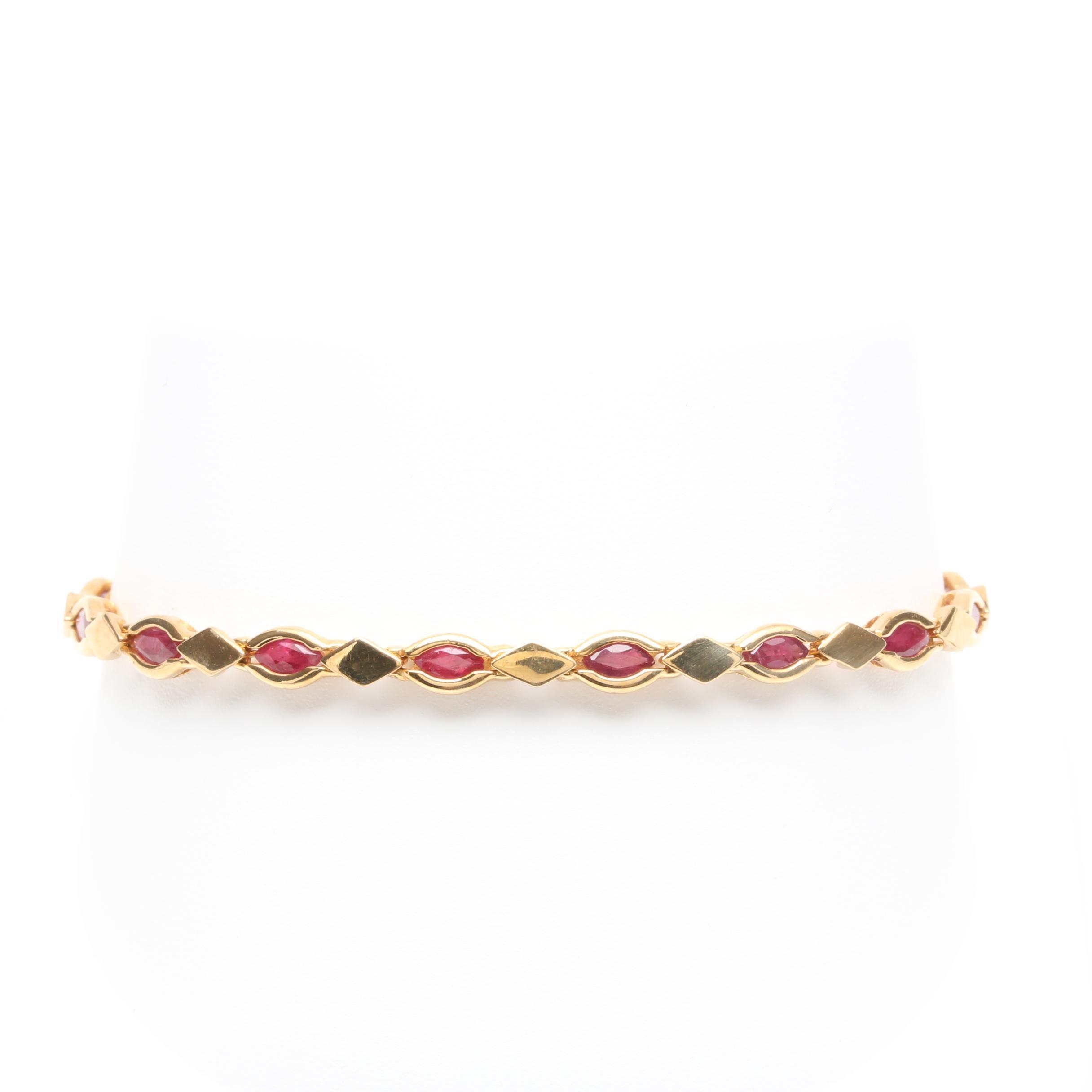 14K Yellow Gold Ruby Fancy Link Bracelet