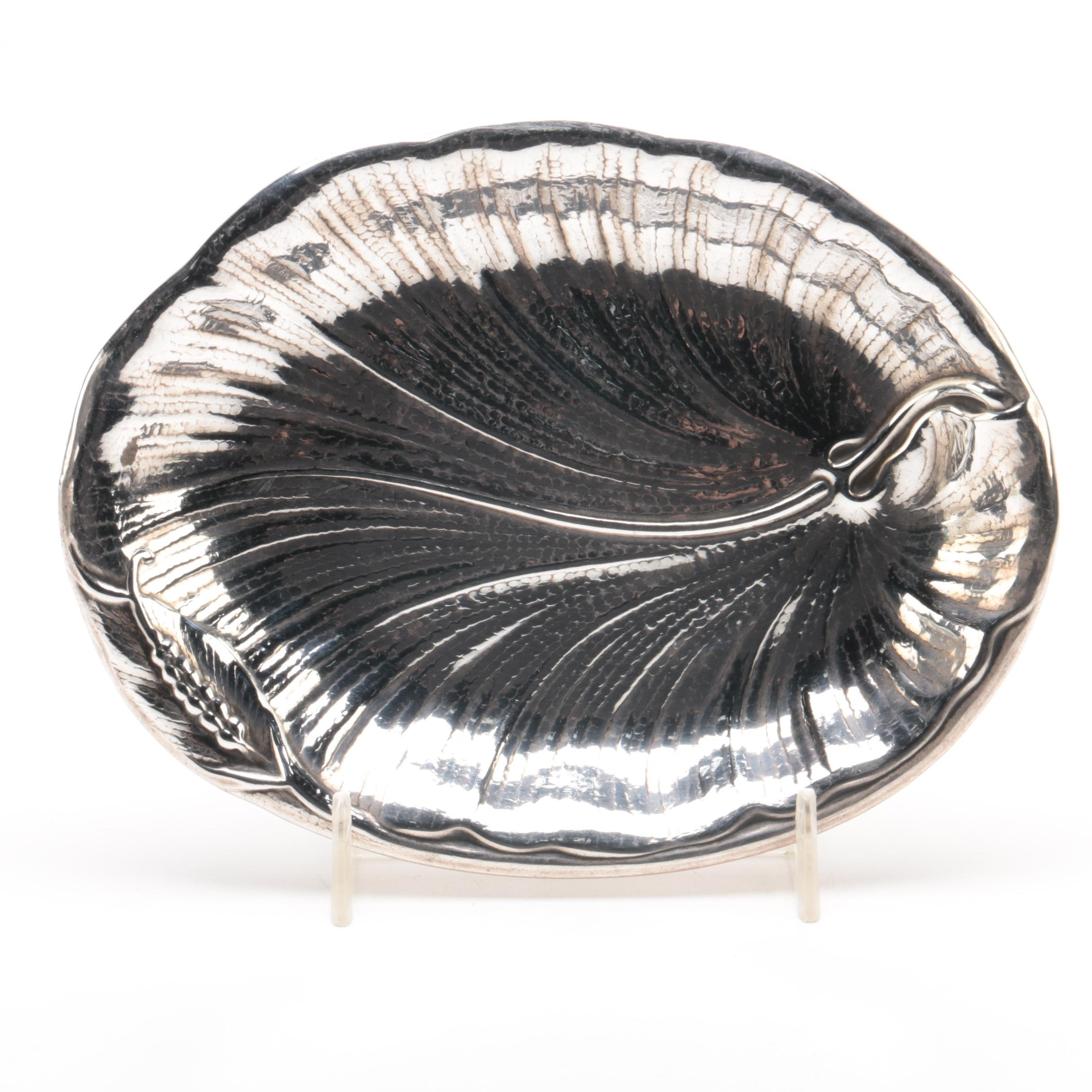 International Silver Co. Sterling Art Nouveau Style Leaf Form Dish