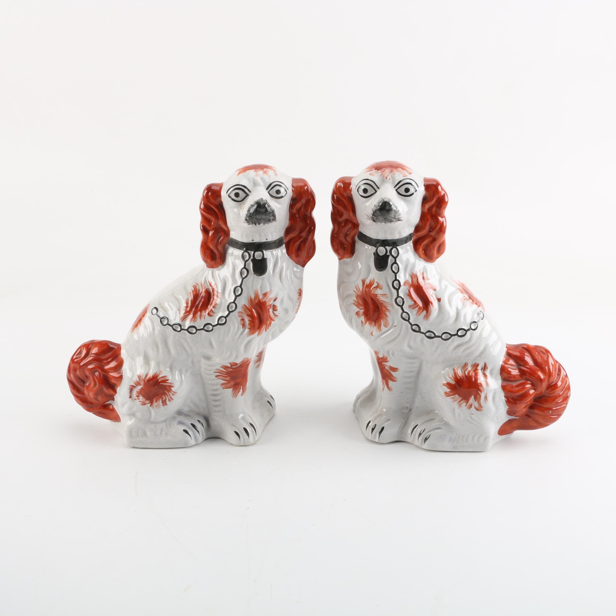 Ceramic Mirrored Spaniel Staffordshire Style Figurines