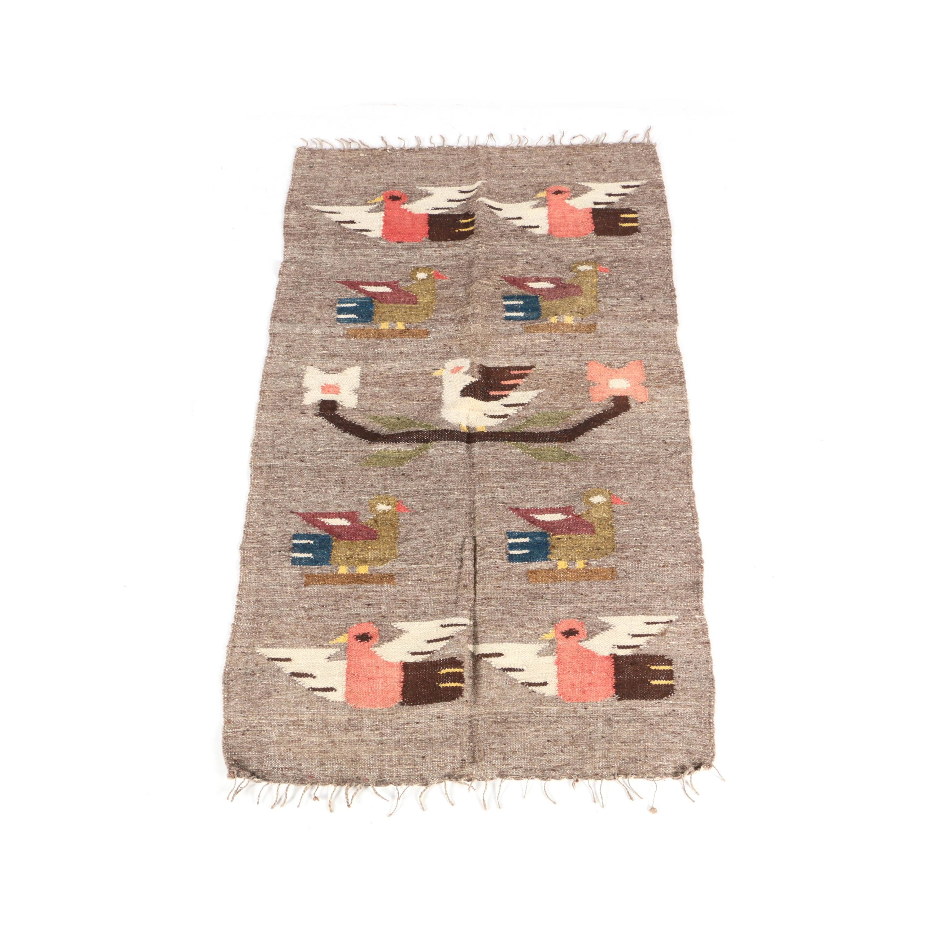 Hand-Knotted Mexican Wool Bird Rug
