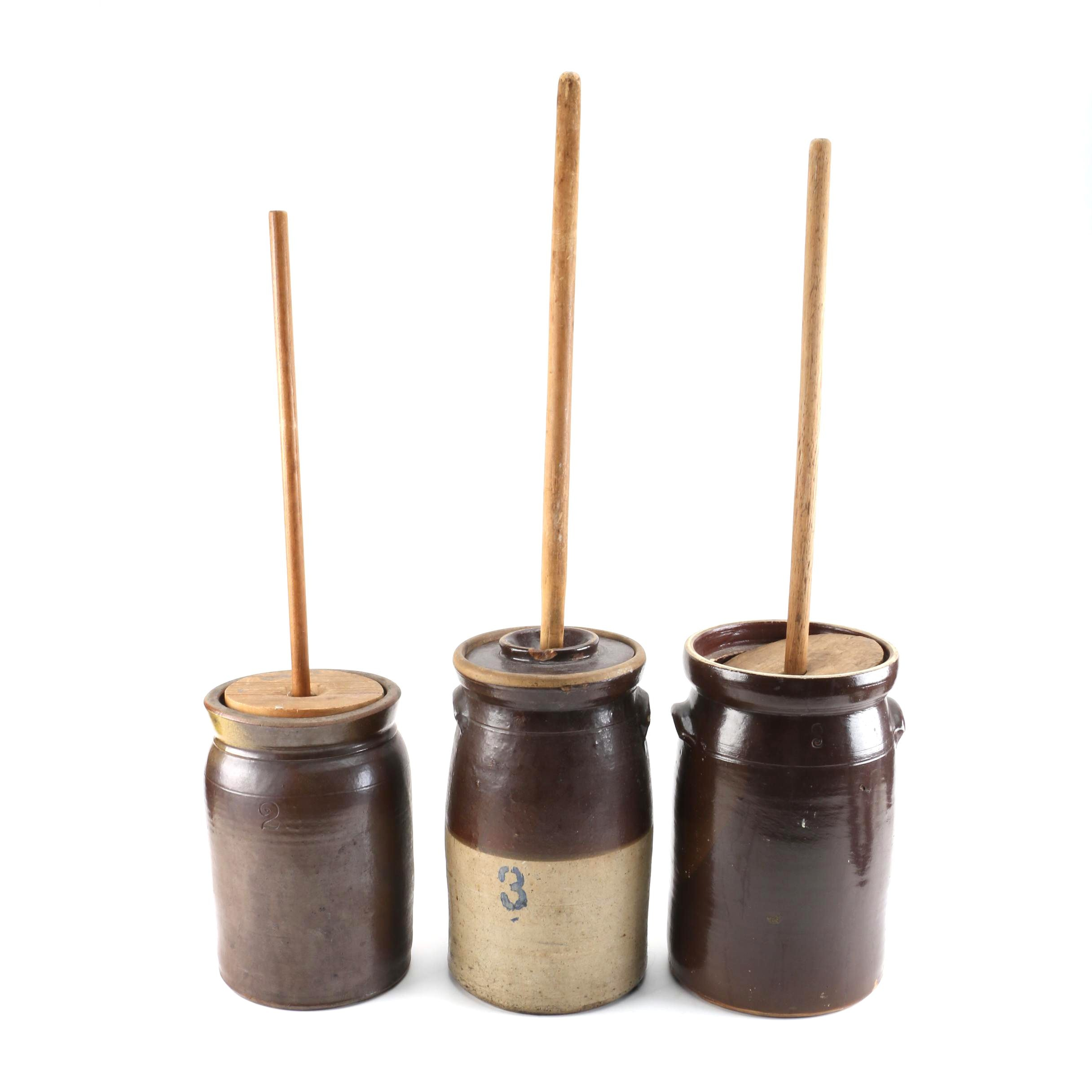 Vintage Stoneware Butter Churns with Lids and Paddles