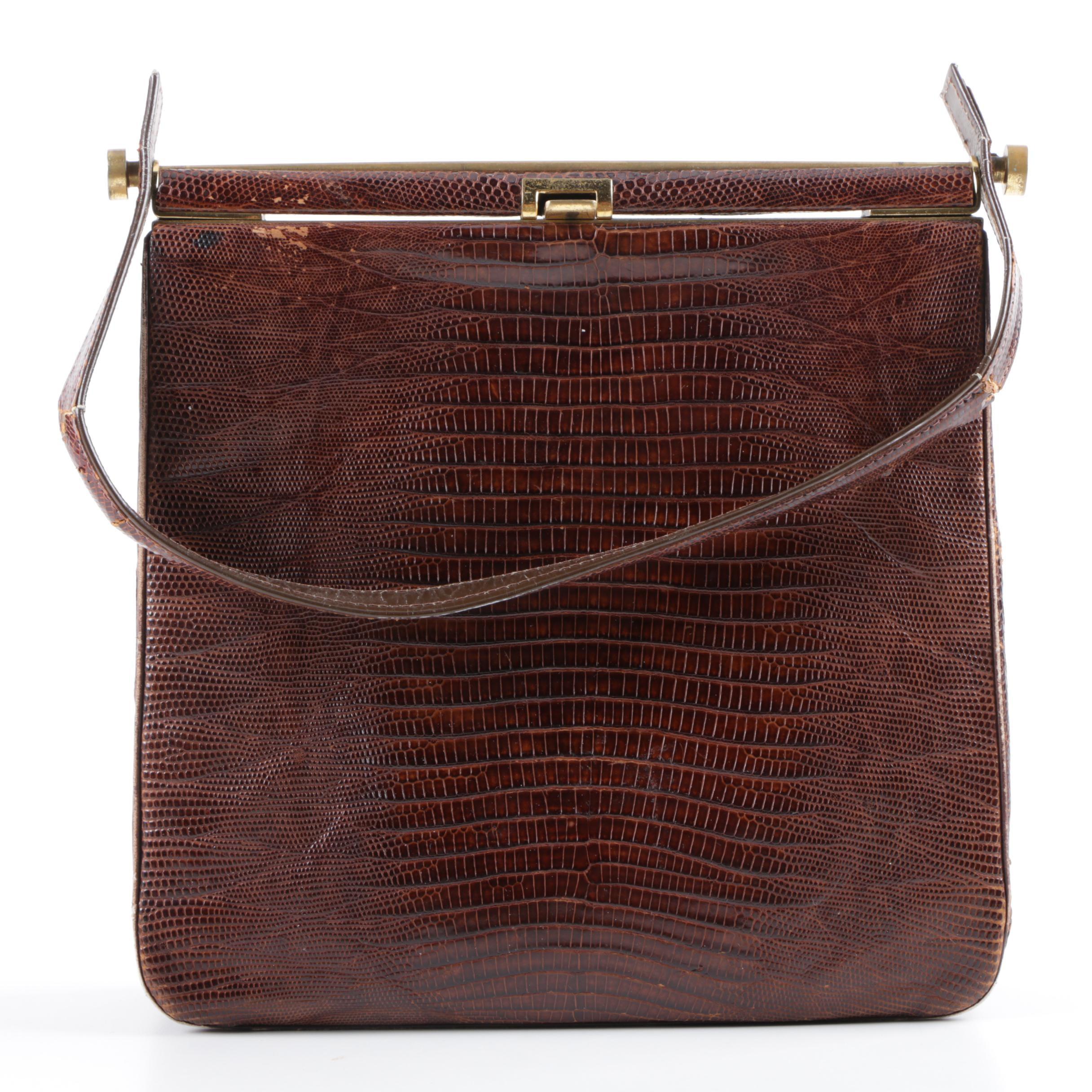 Vintage Renal Original Brown Lizard Skin Handbag