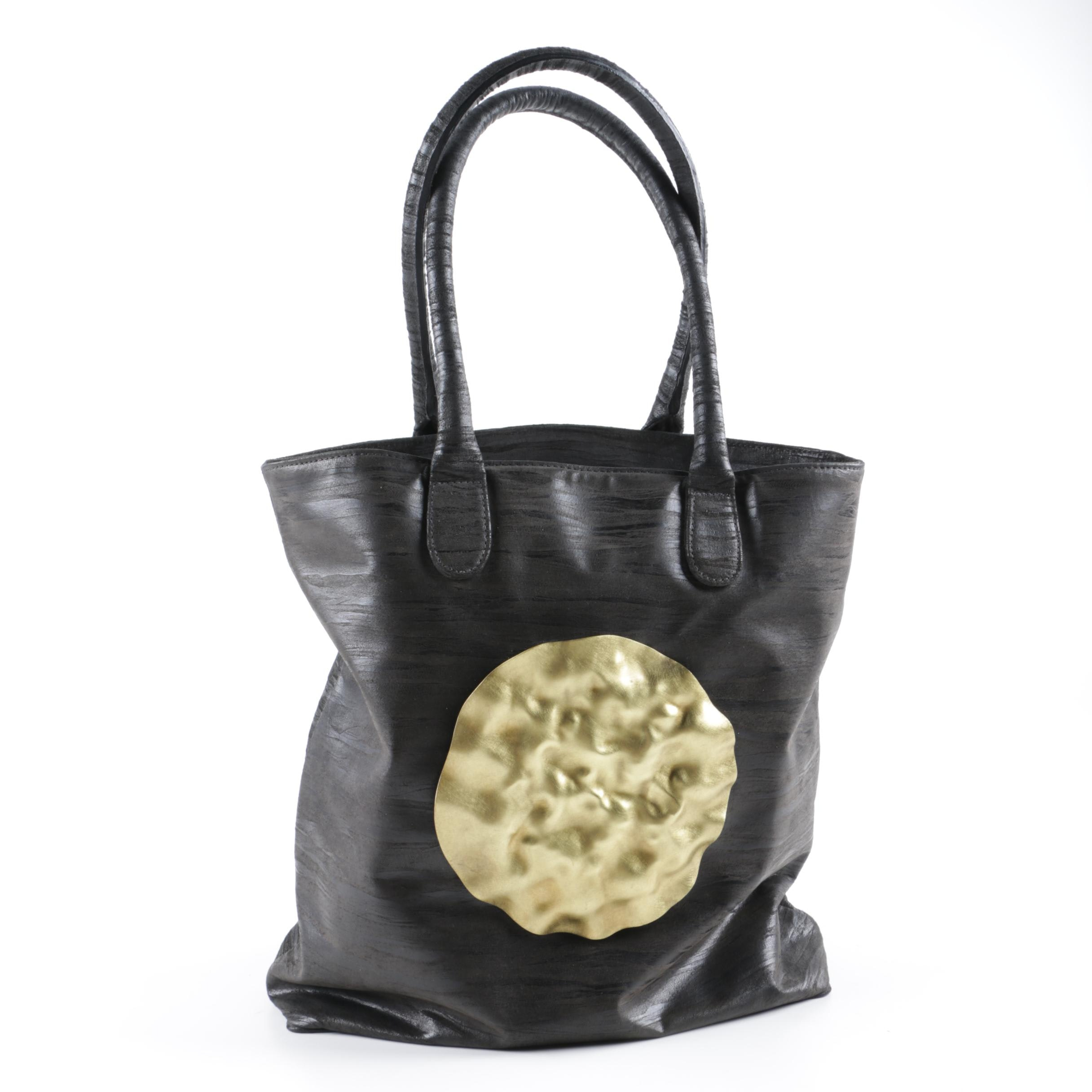 Dareen Hakim Black Leather Tote with Hammered Medallion