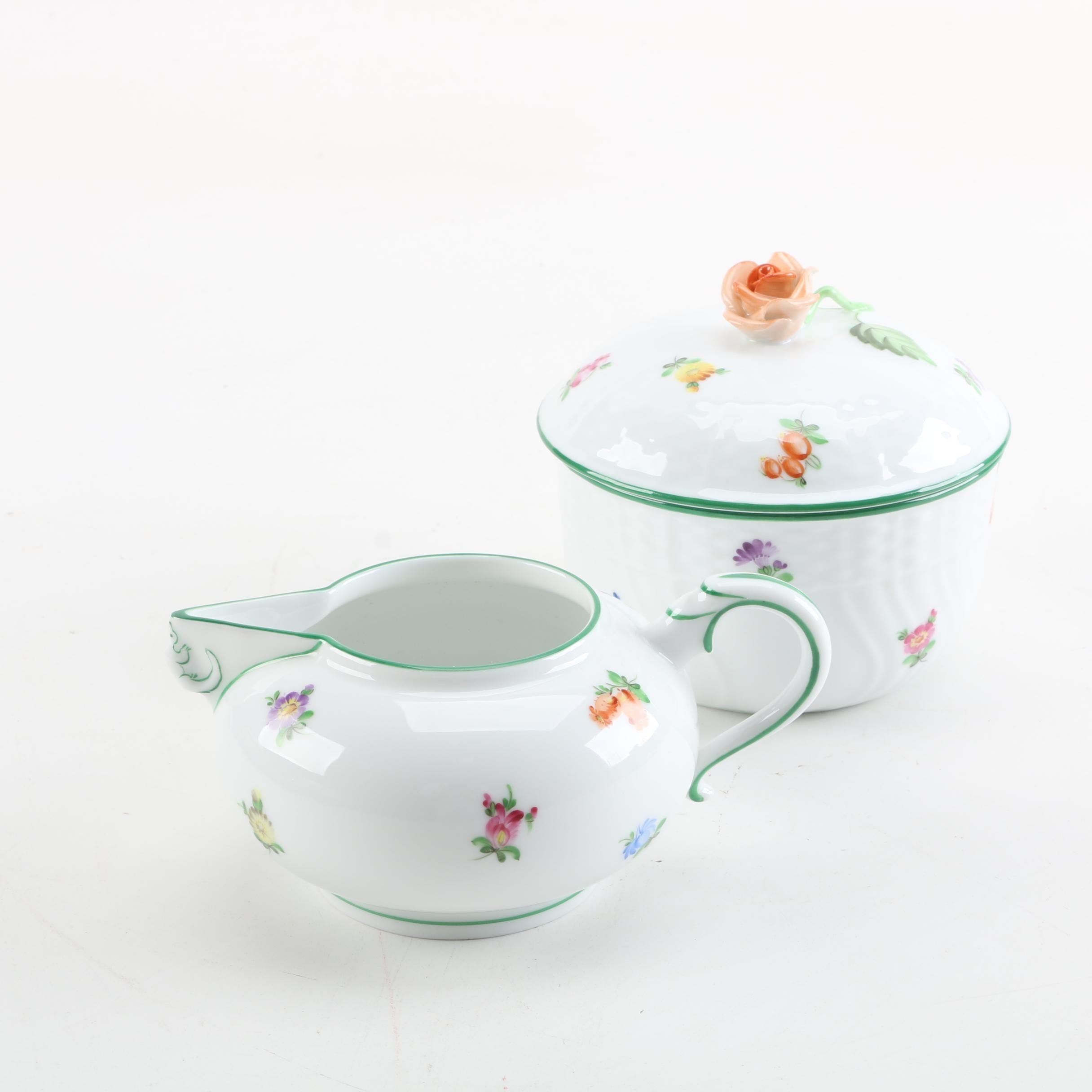 "Hand-Painted Herend ""Lindsay"" Porcelain Creamer and Sugar Bowl"
