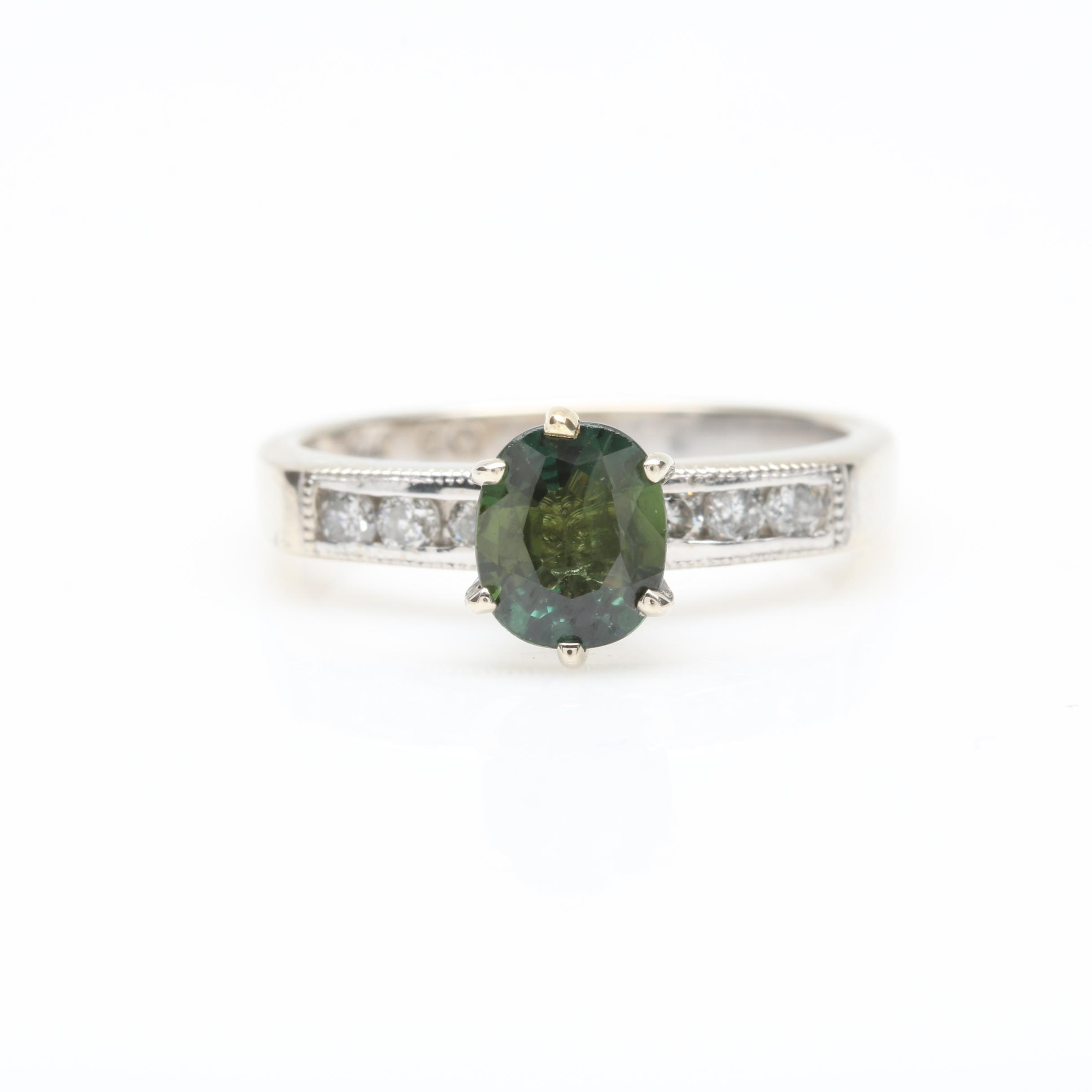 14K White Gold Blue Green Sapphire and Diamond Ring