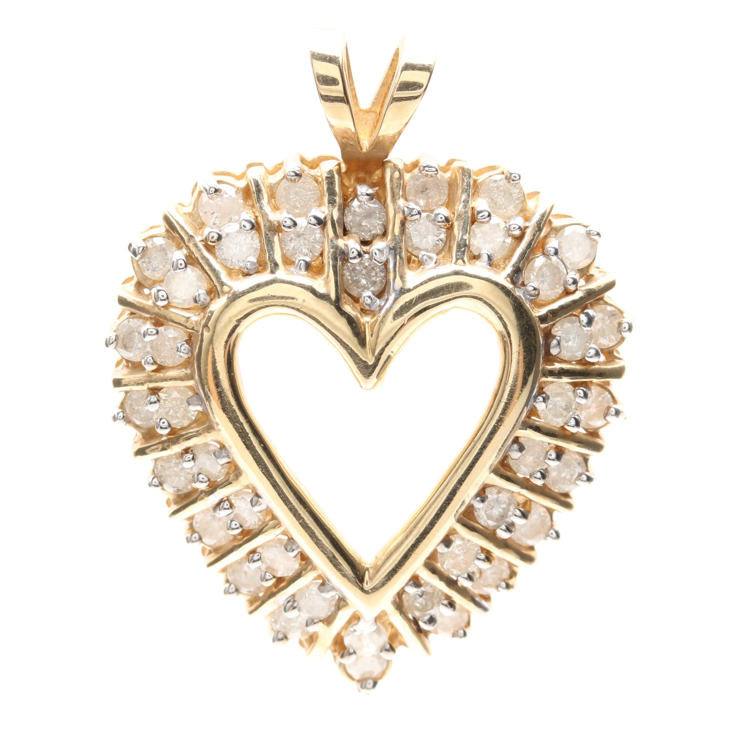 10K Yellow Gold 1.60 CTW Diamond Heart Pendant
