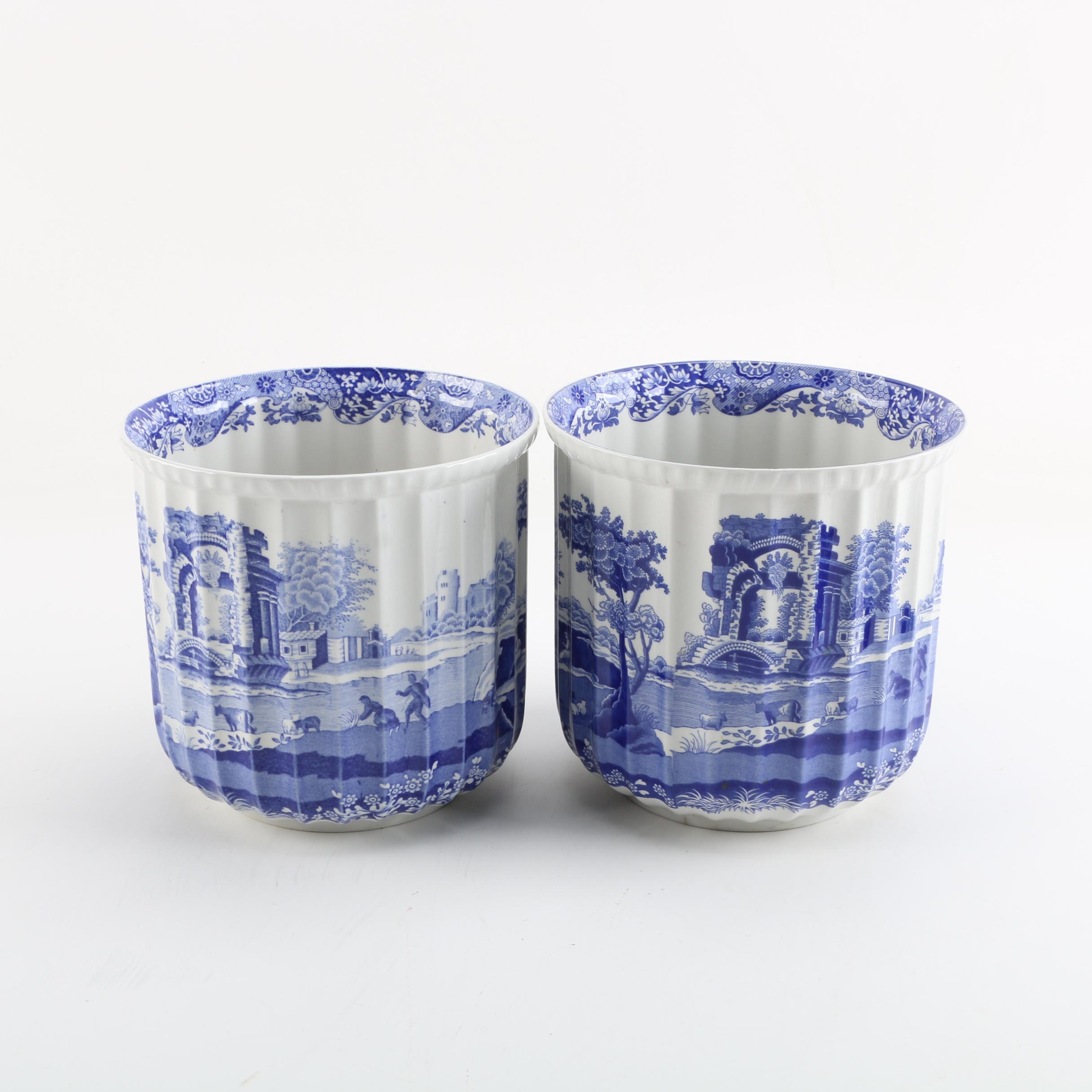 "Spode Blue and White ""Italian"" Transferware Eatthenware Cachepots"