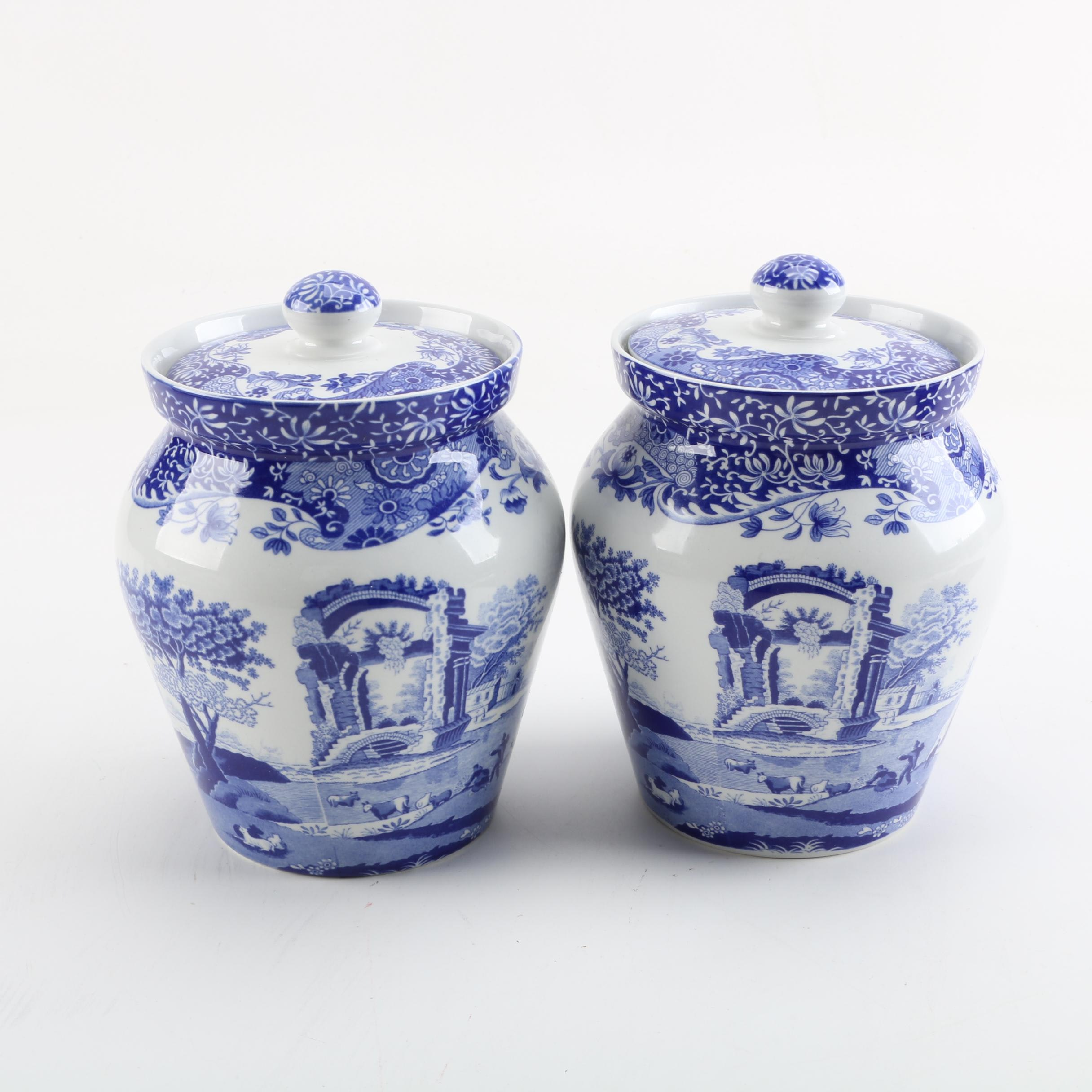 "Spode ""Blue Italian"" Ceramic Kitchen Canisters"