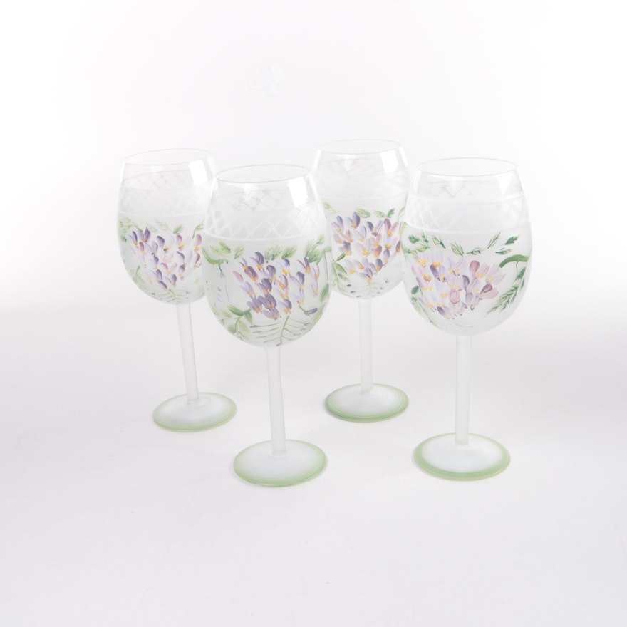 Hand Painted Floral Wine Glasses Ebth