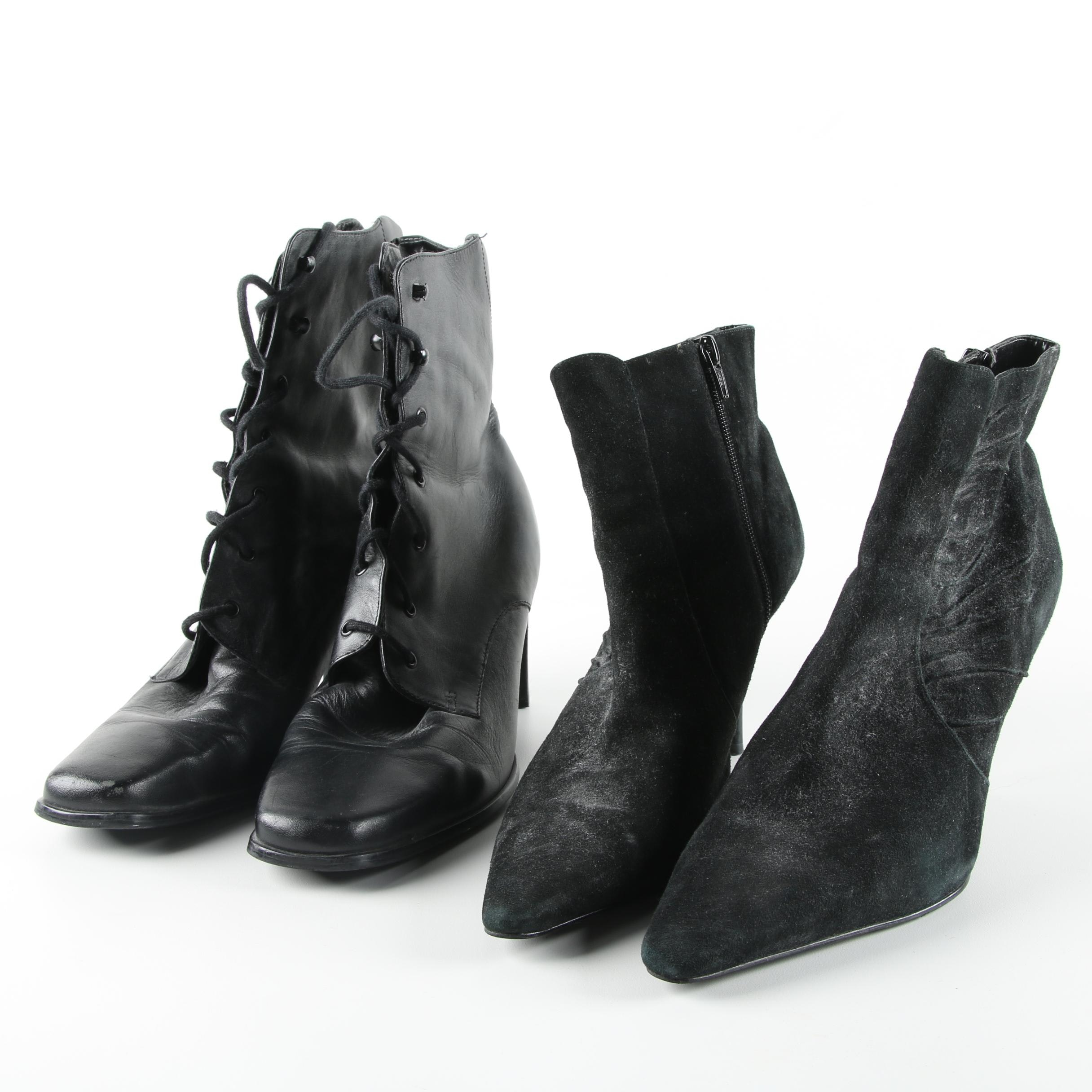 Women's Black Leather and Suede Heeled Booties Including Enzo Angiolini