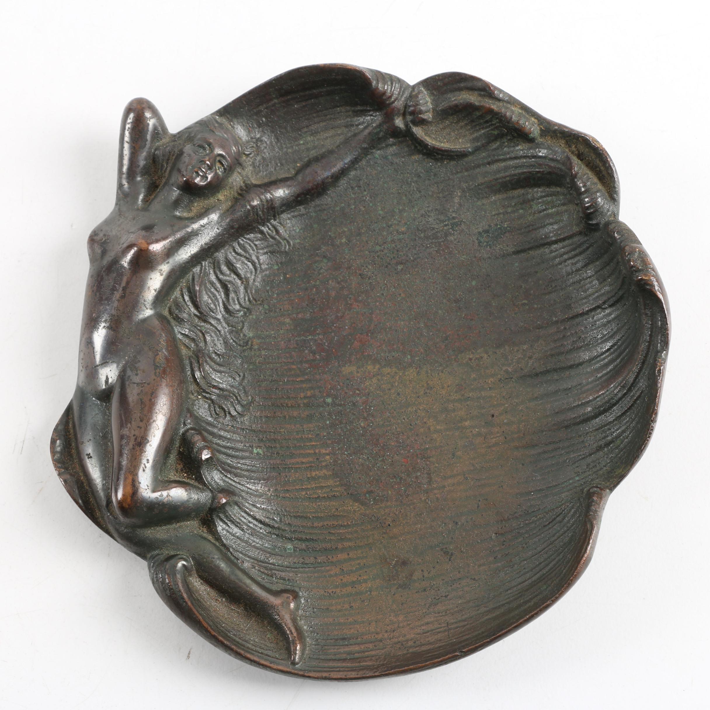 Antique Art Nouveau Bronze Figurative Nude Calling Card Tray