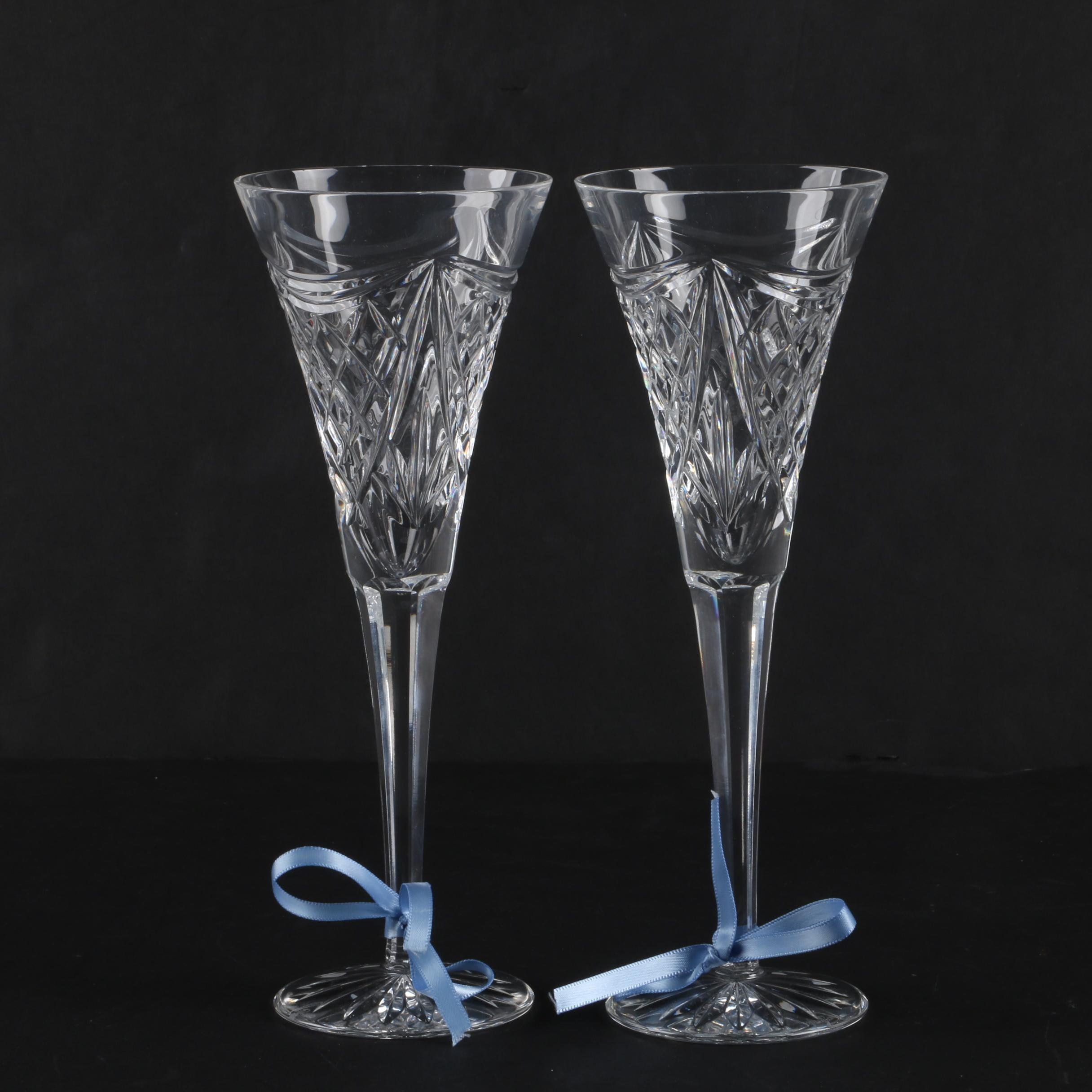 """Waterford Crystal """"Cut of the Century"""" Toasting Flutes"""