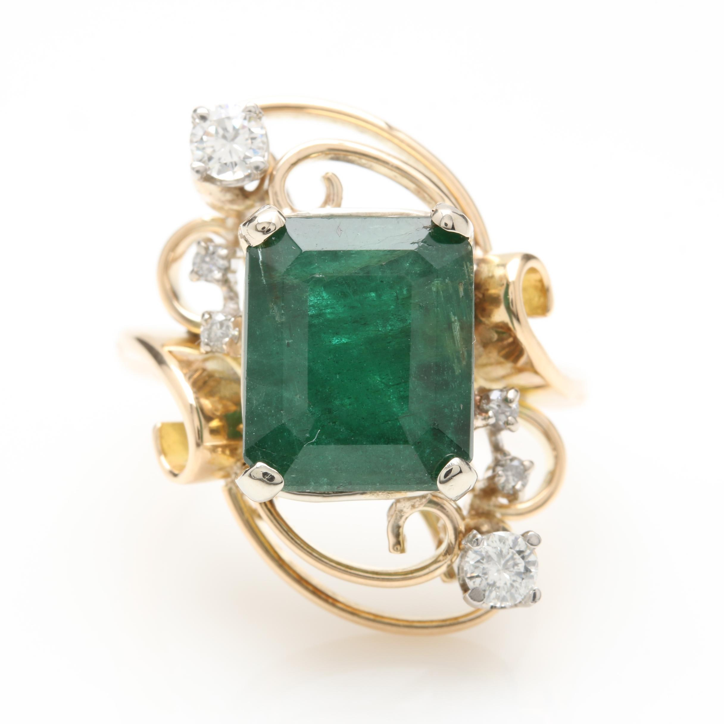 14K Yellow Gold 4.96 CT Emerald and Diamond Ring