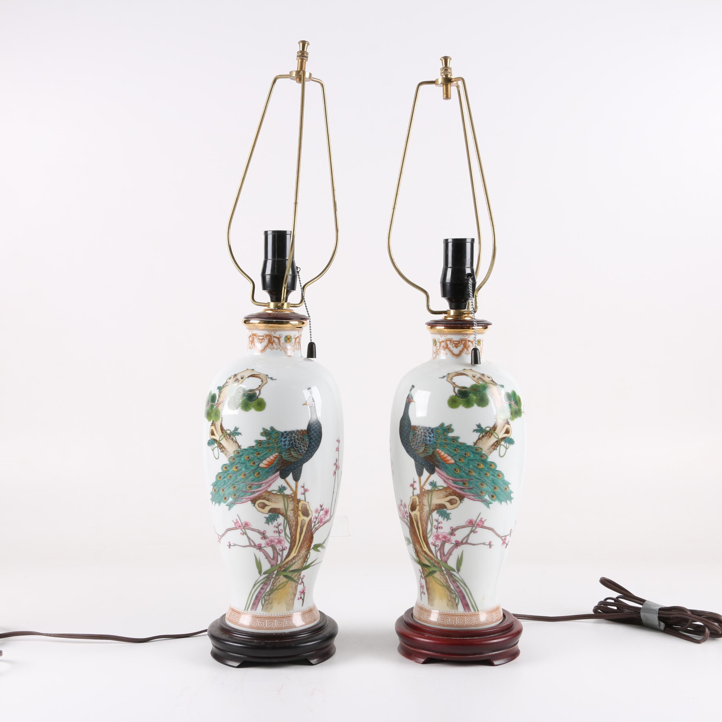 Chinese Ceramic Peacock Motif Table Lamps