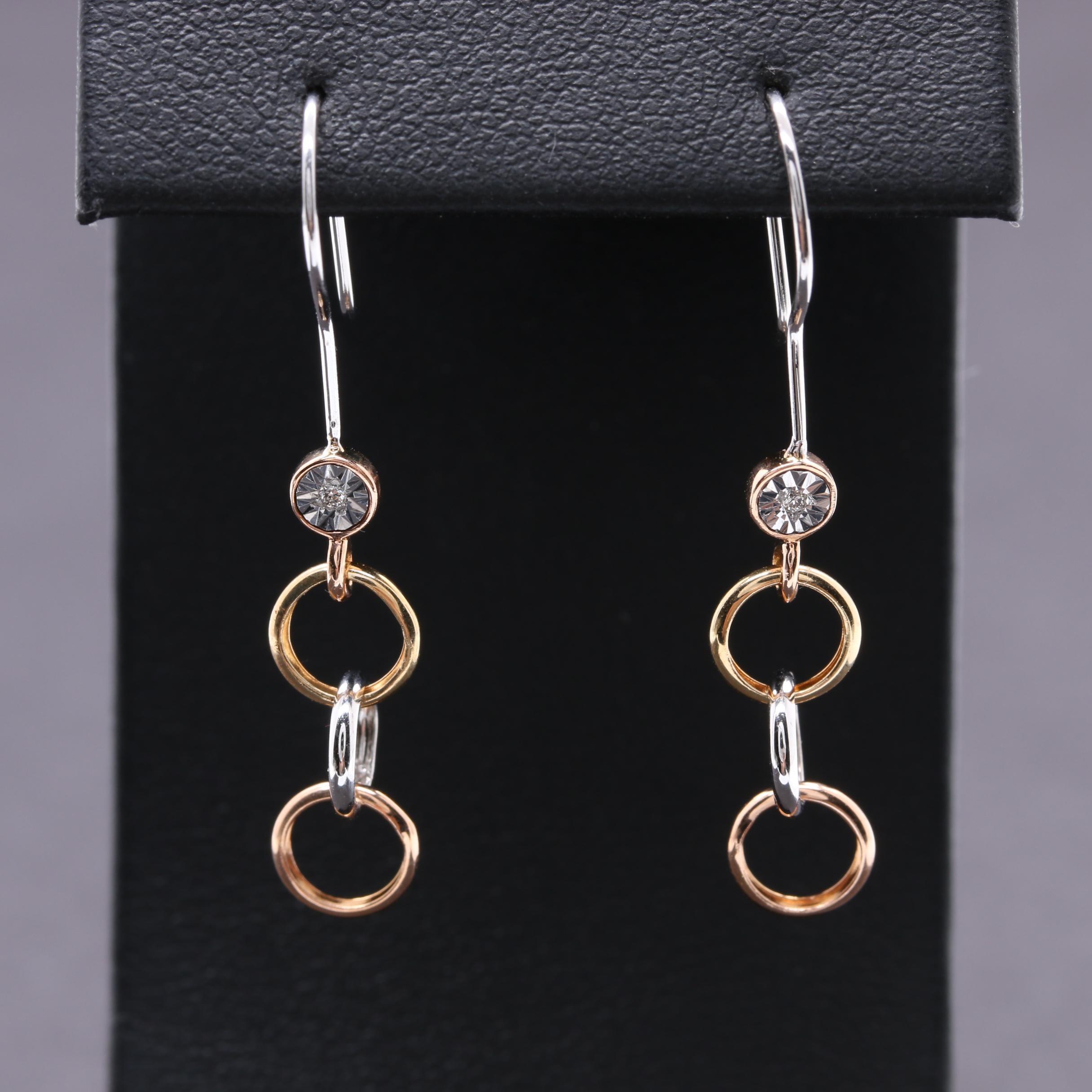 14K Tri-Tone Gold Diamond Earrings