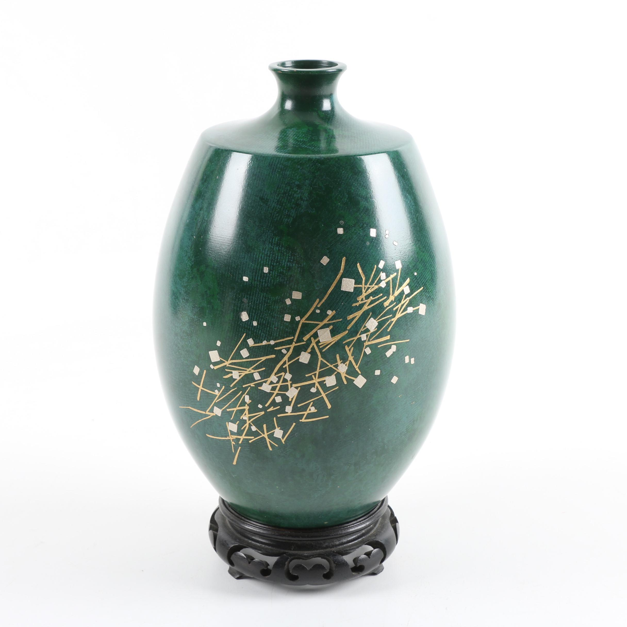 Japanese Faux Malachite Painted Brass Vase with Geometric Motif