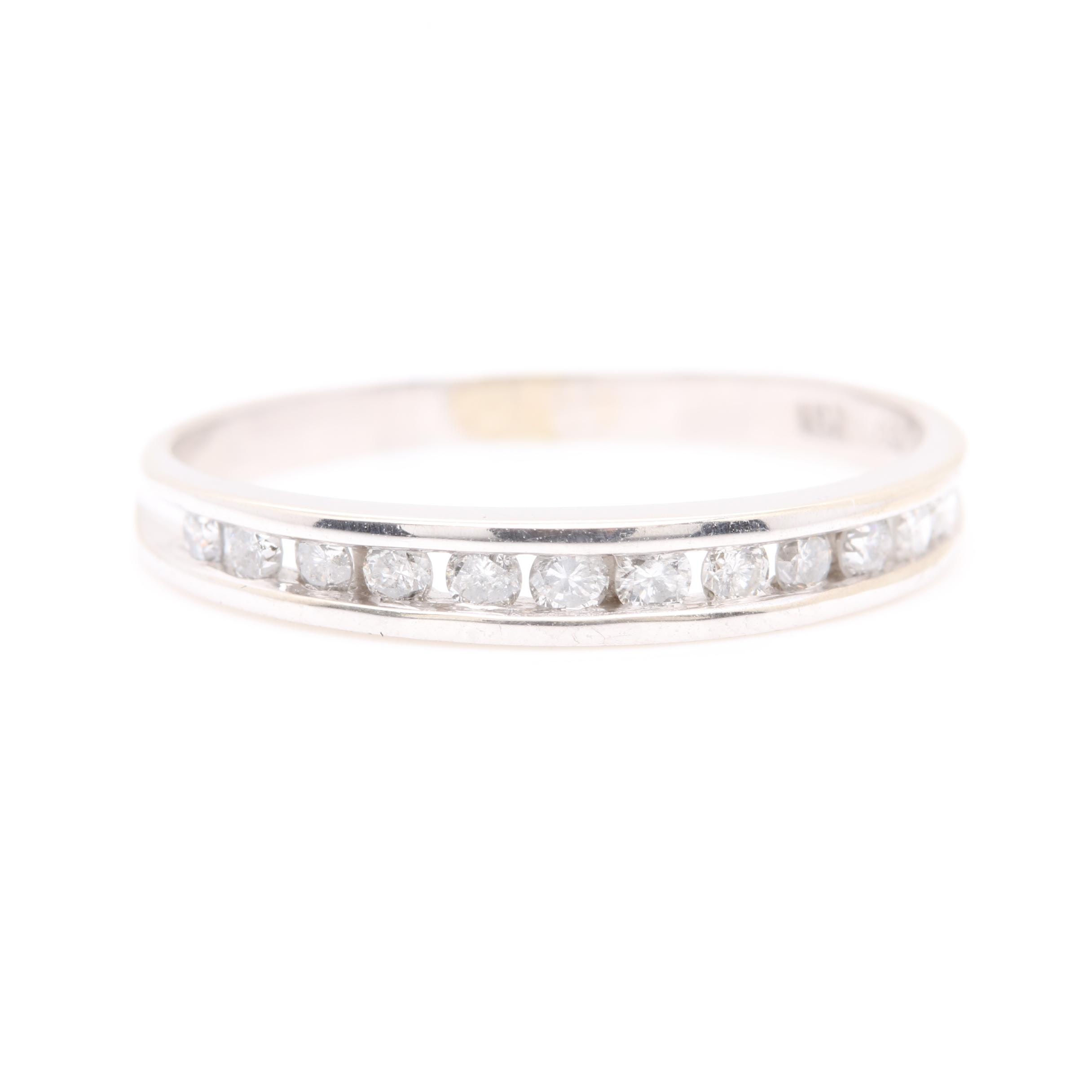 10K White Gold Diamond Channel Ring Band