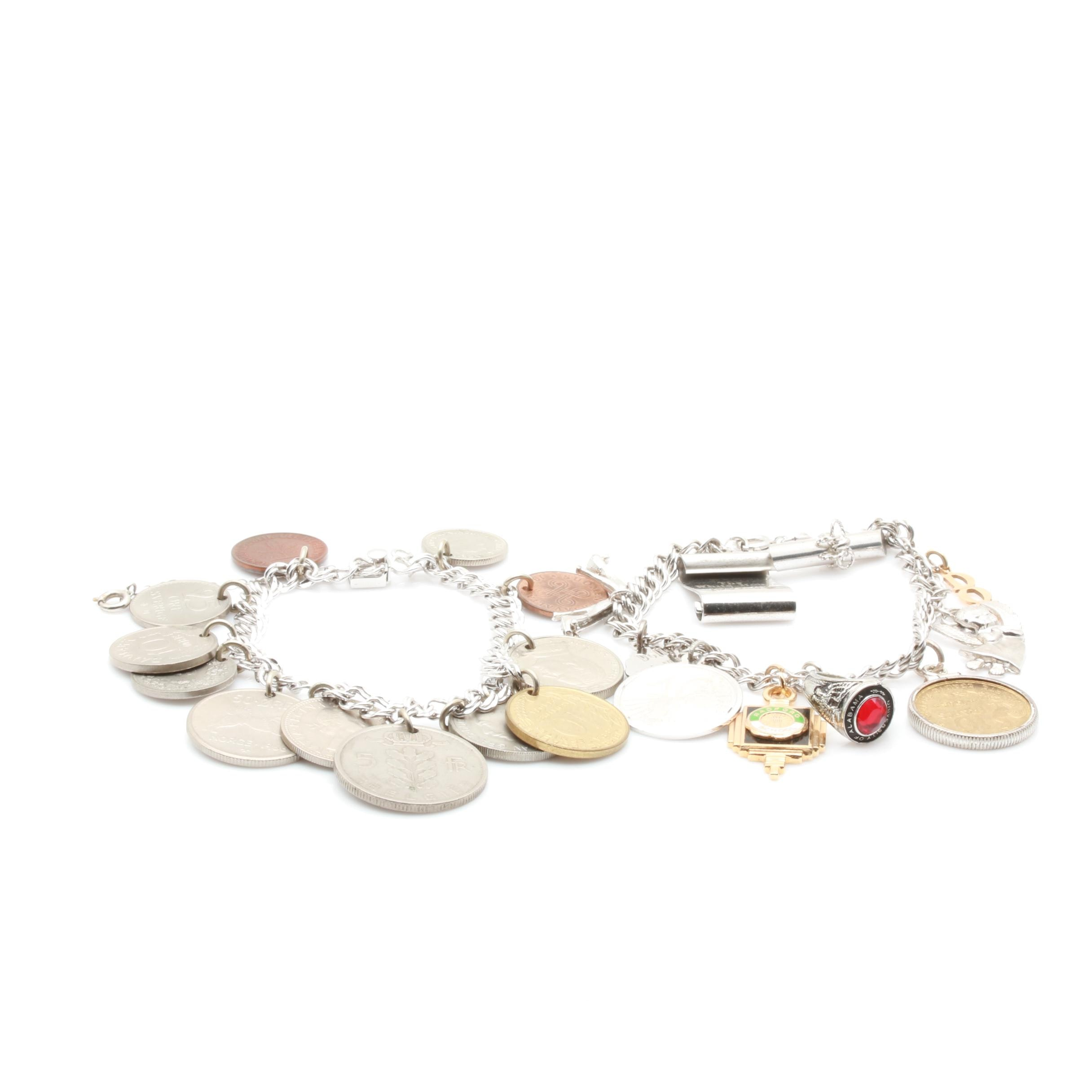 Sterling Silver Charm Bracelets Including 14K Yellow Gold, Enamel, and Coins