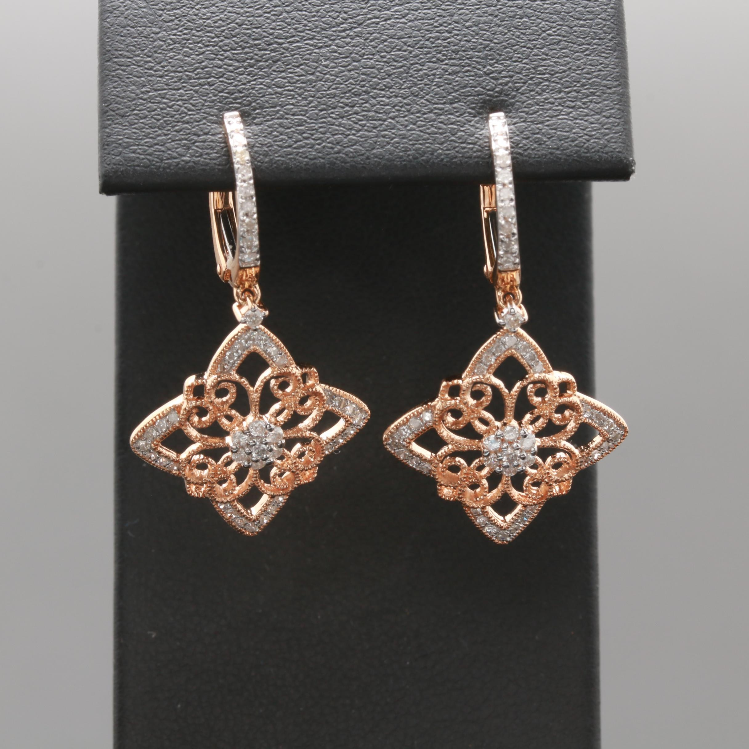 14K Rose Gold Diamond Dangle Earrings