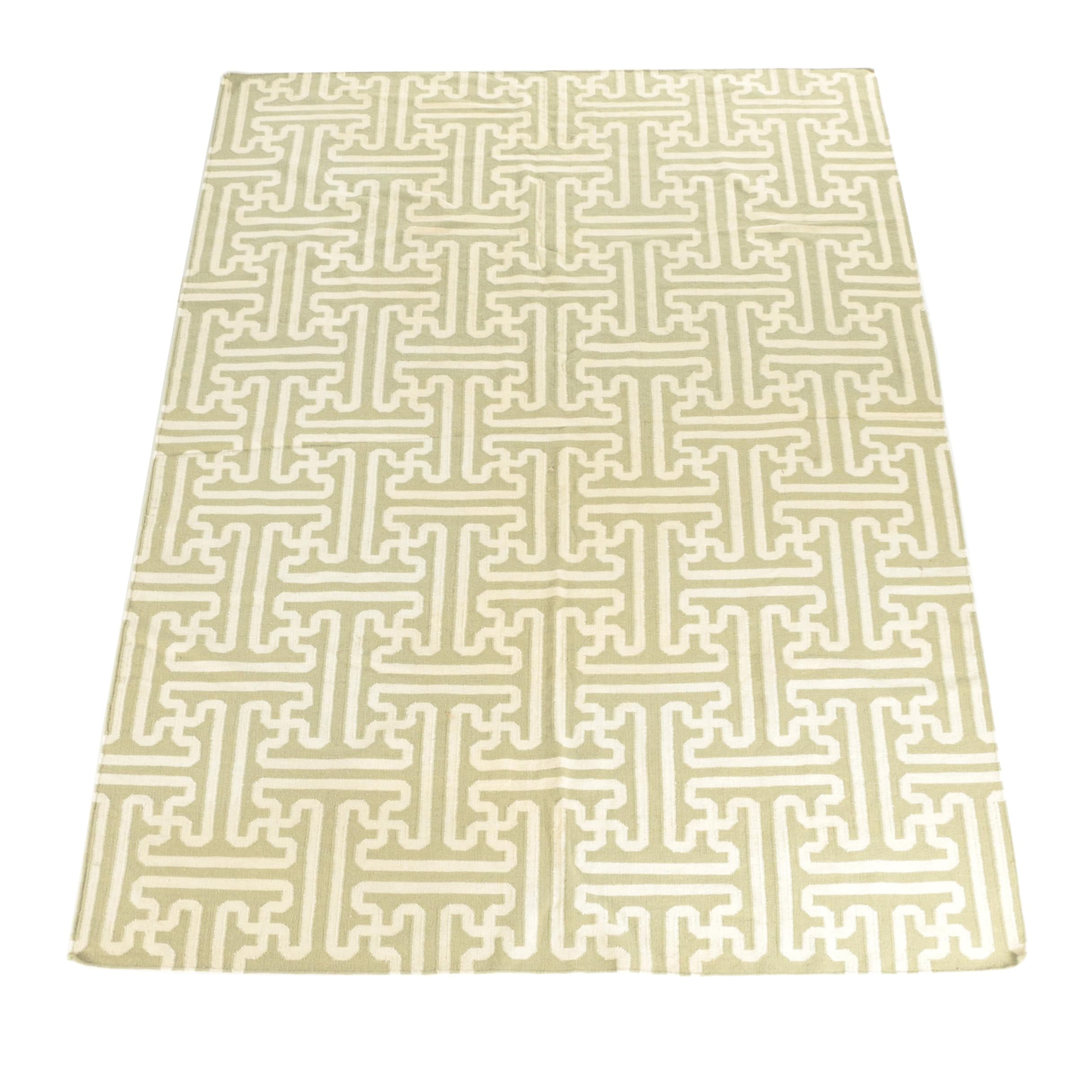 Handwoven Flat Weave Sage and Cream Lattice Area Rug