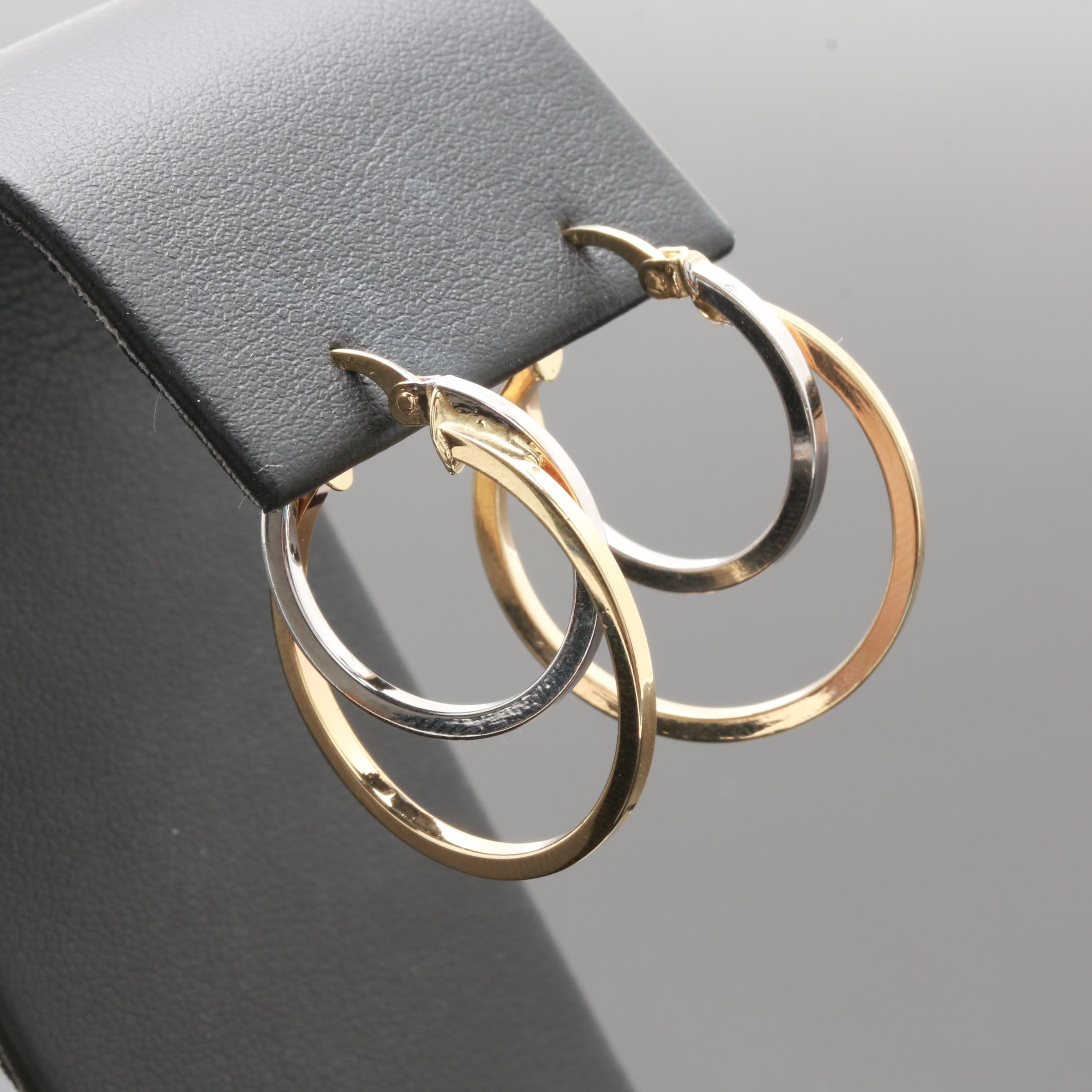 14K Yellow and White Gold Double Hoop Earrings