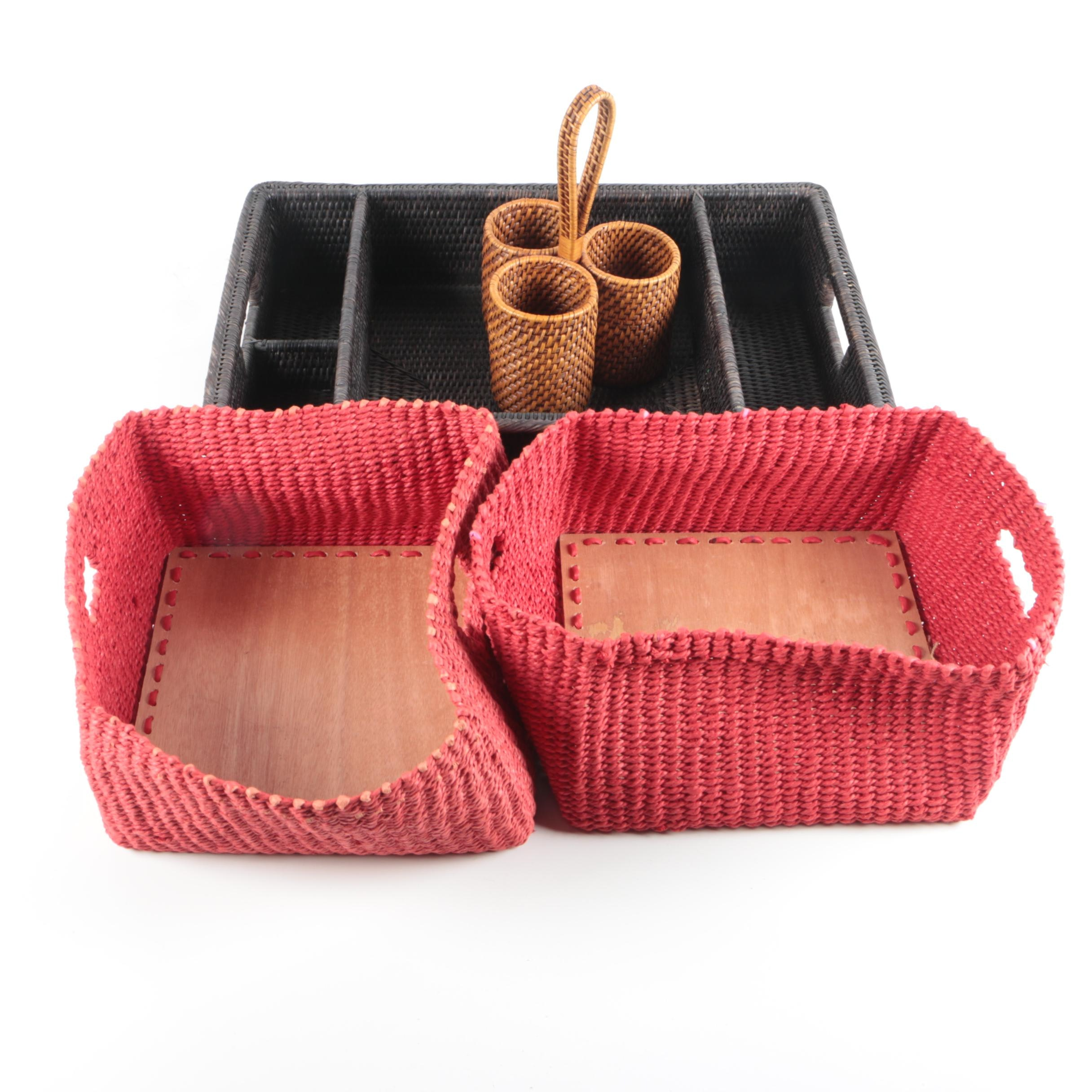 Woven Tray and Utensil Holder with Red Square Baskets