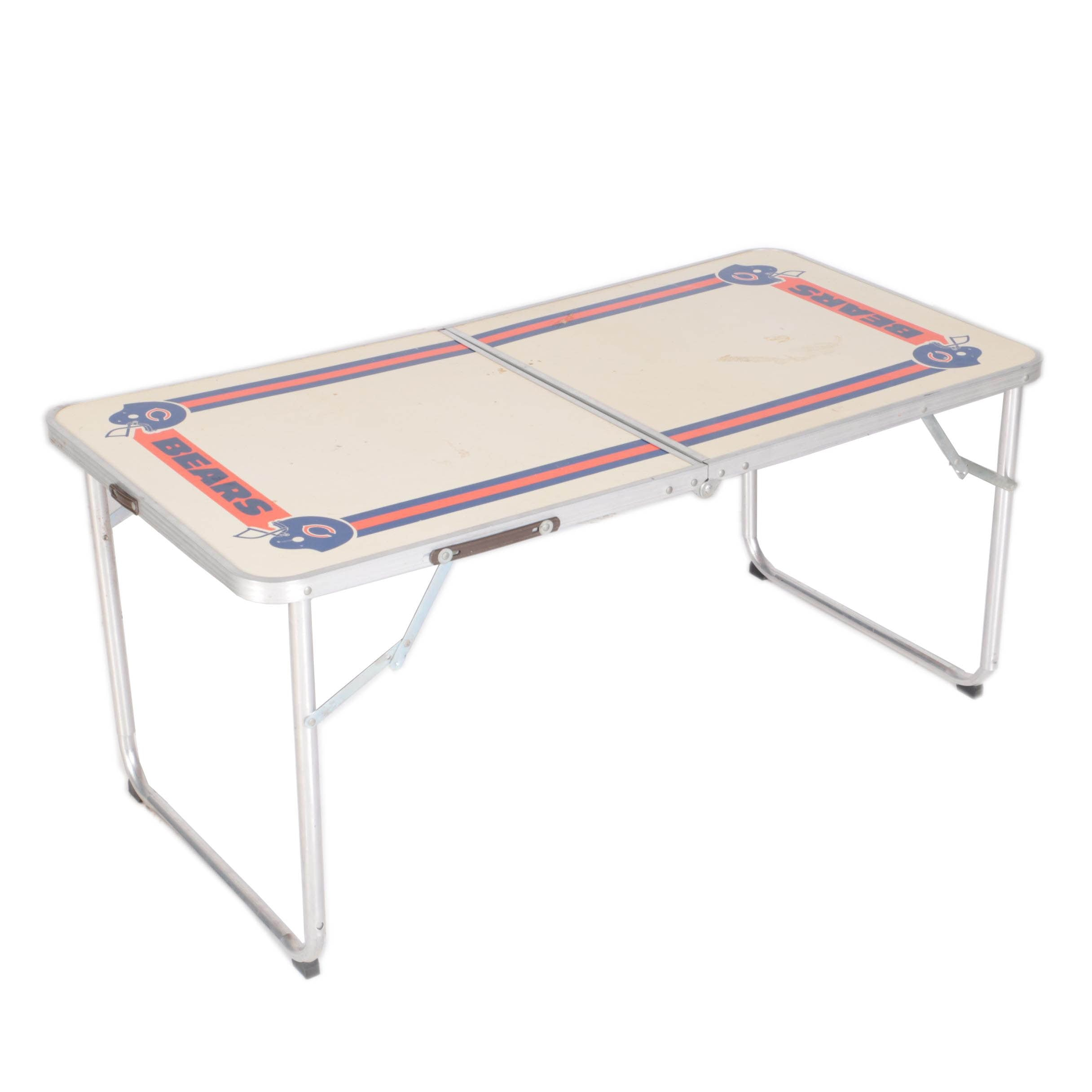 Vintage Chicago Bears Themed Metal Folding Table