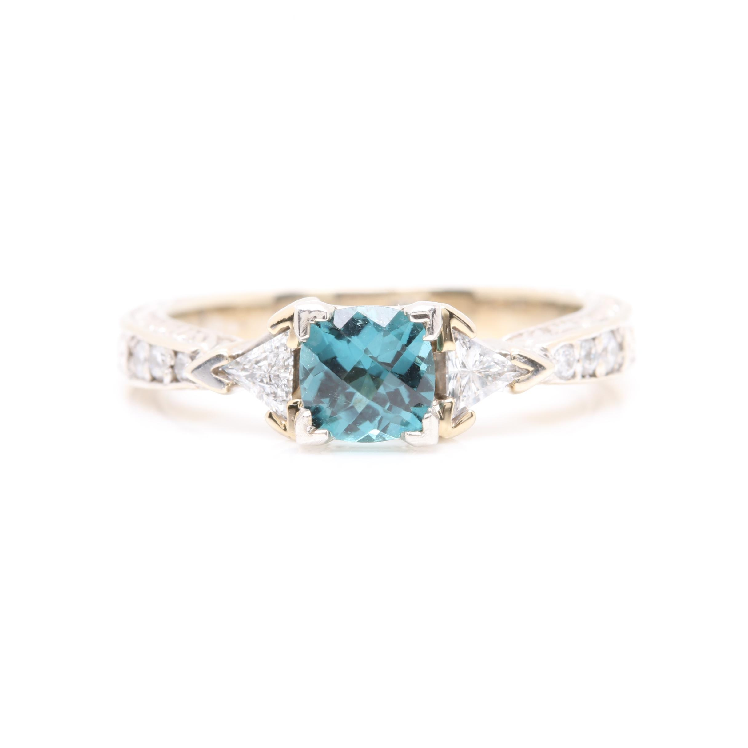 14K White Gold and Platinum Blue Tourmaline and Diamond Ring
