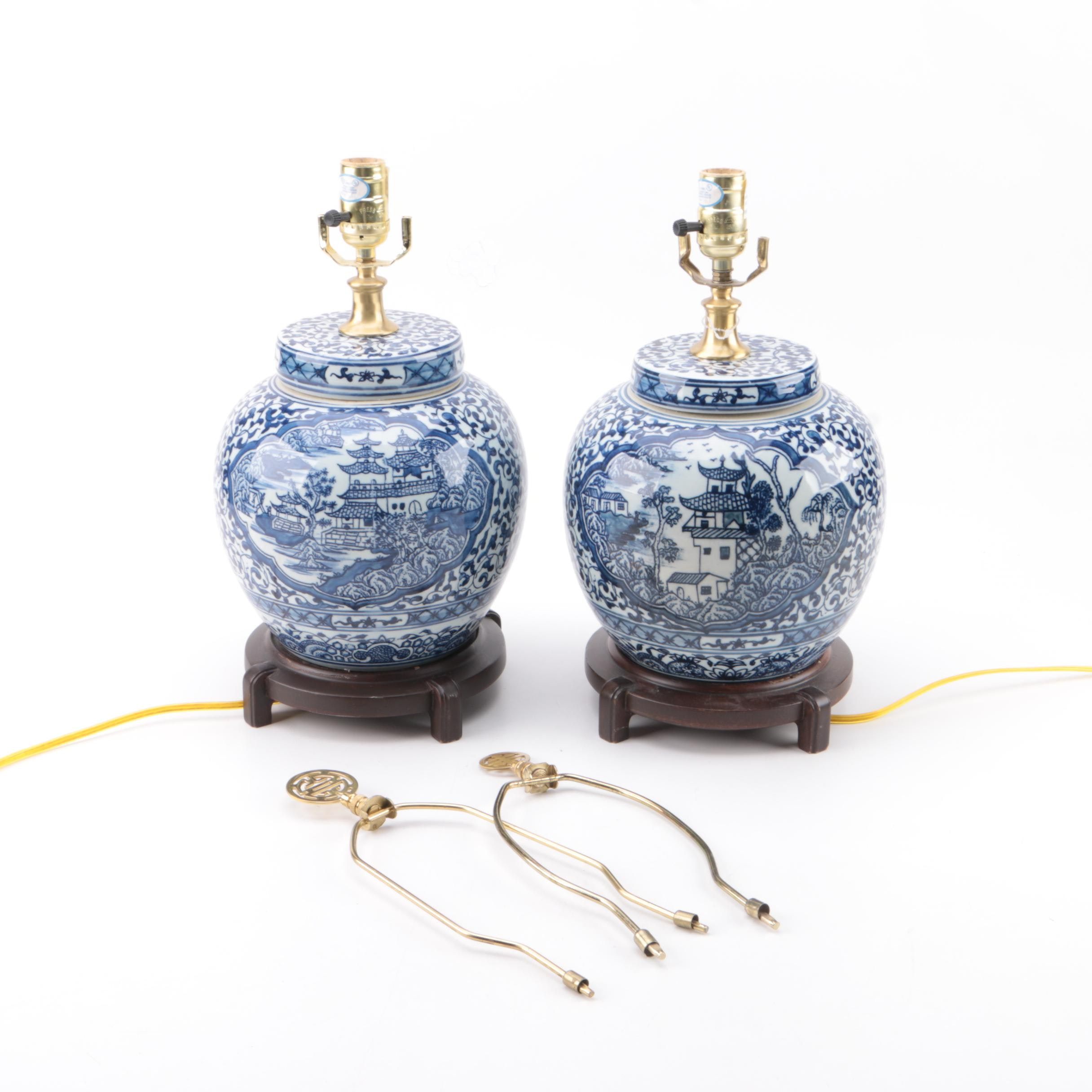Chinese Blue and White Ceramic Jar Style Table Lamps