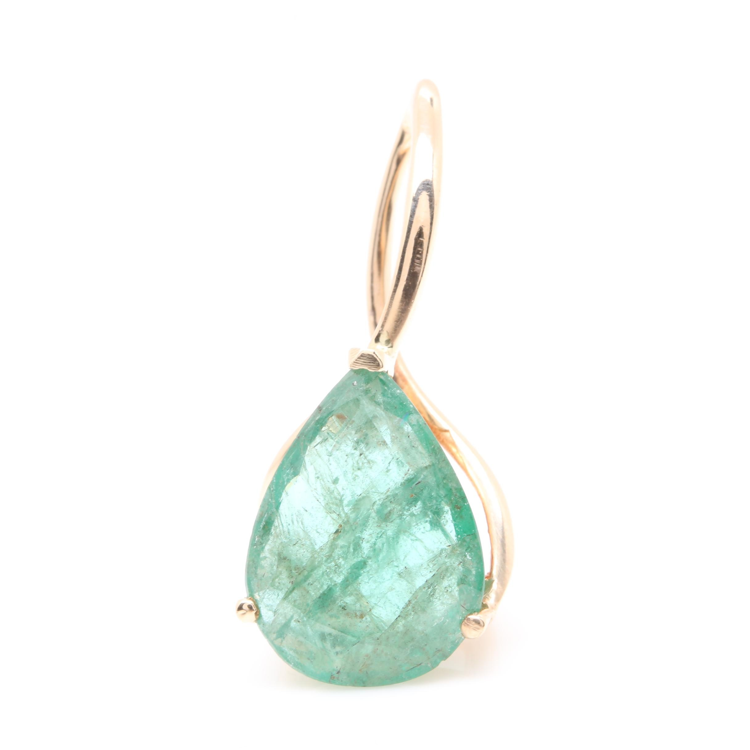 14K Yellow Gold 2.42 CT Emerald Pendant