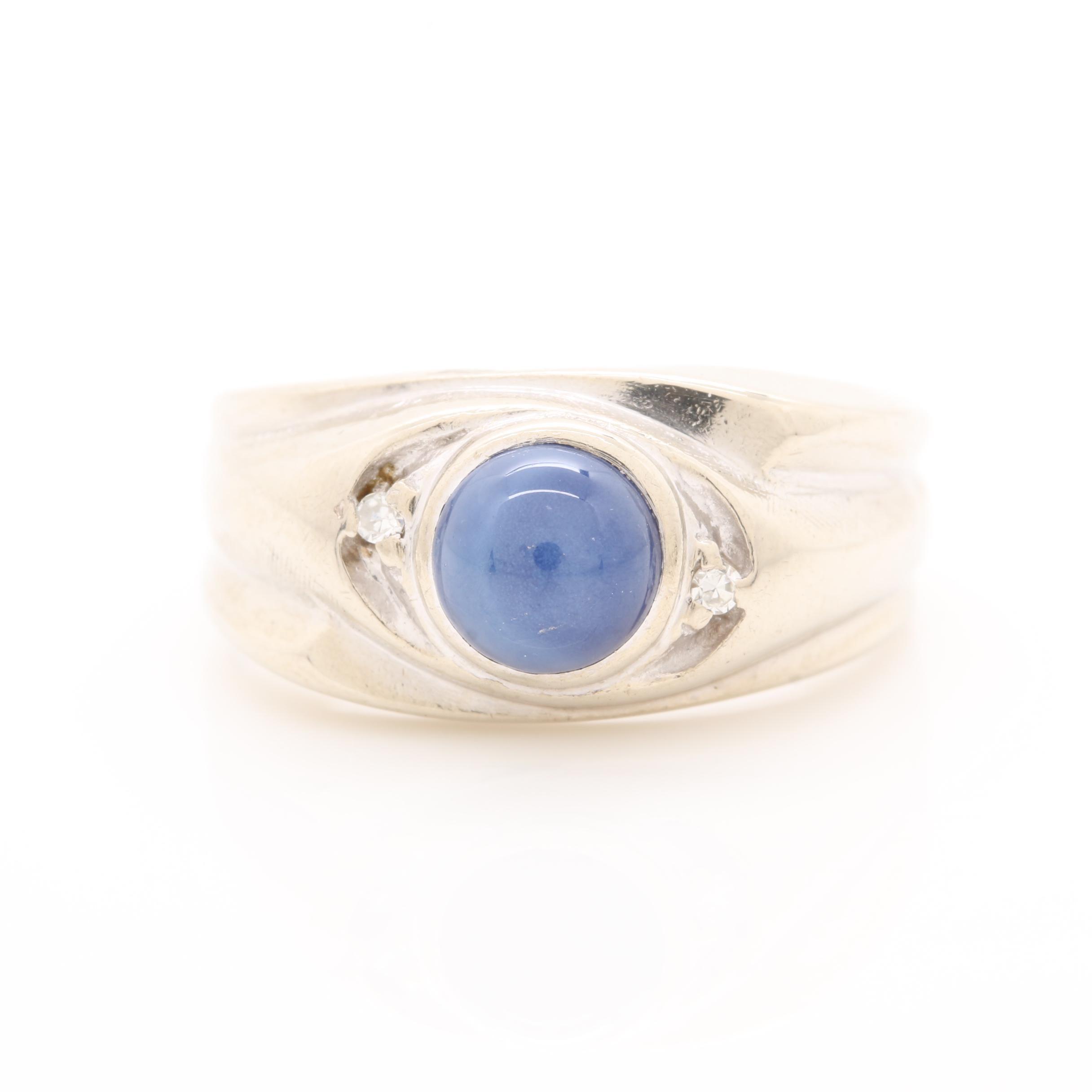 14K White Gold Synthetic Star Sapphire Diamond Ring