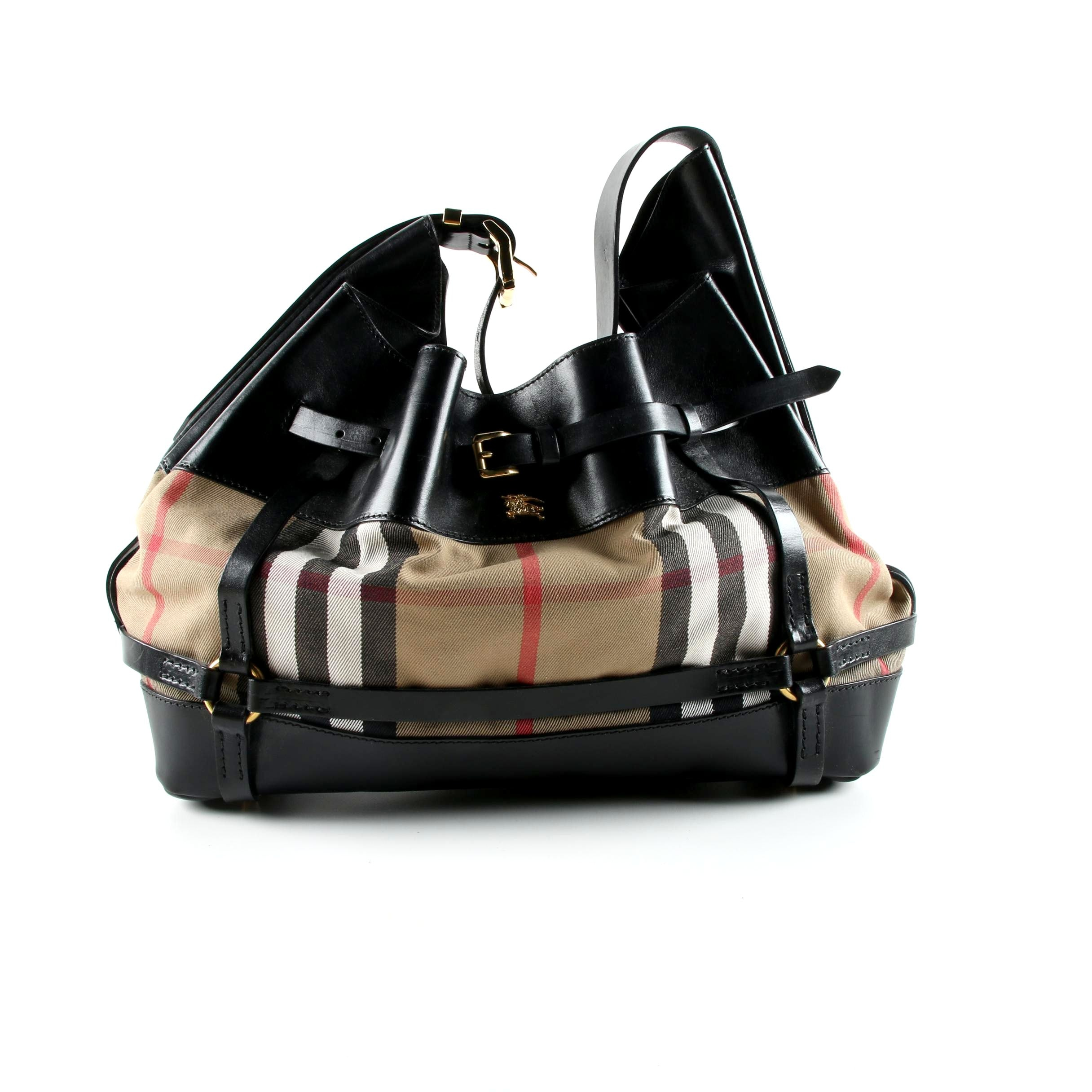 Burberry Black Leather and Plaid Canvas Hobo Bag