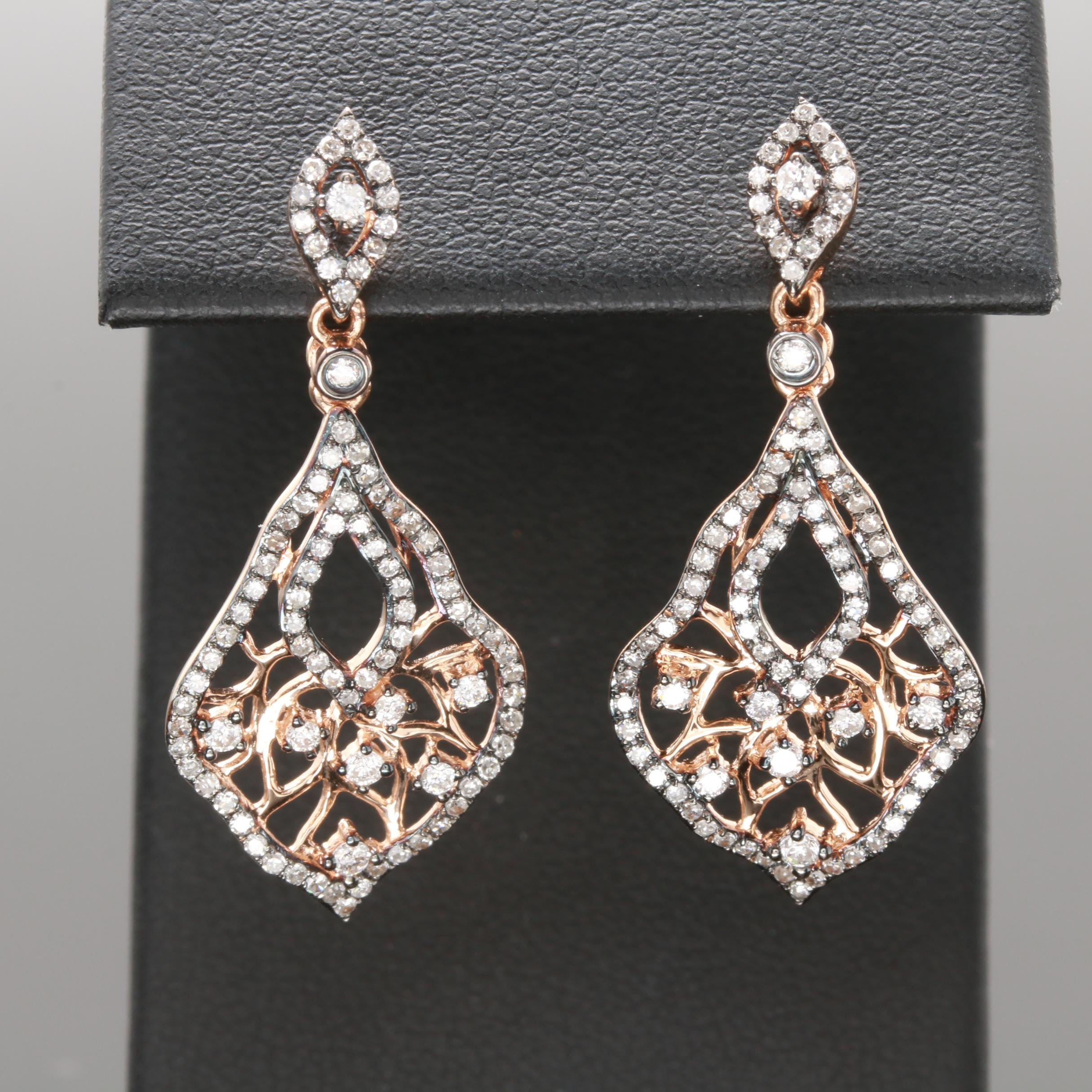 14K Rose Gold 1.10 CTW Diamond Dangle Earrings