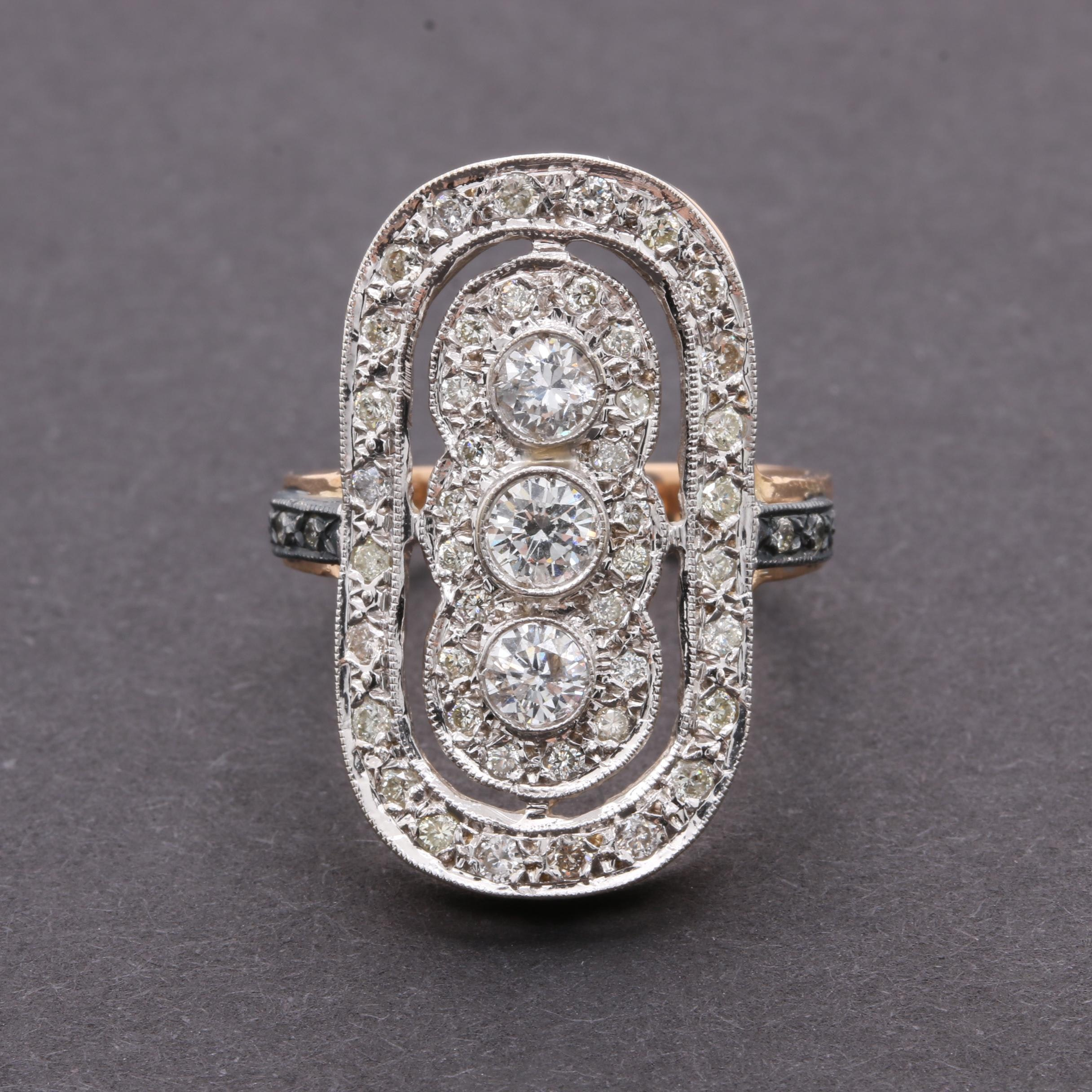 14K Yellow Gold 1.27 CTW Diamond Ring with 800 Silver Accents