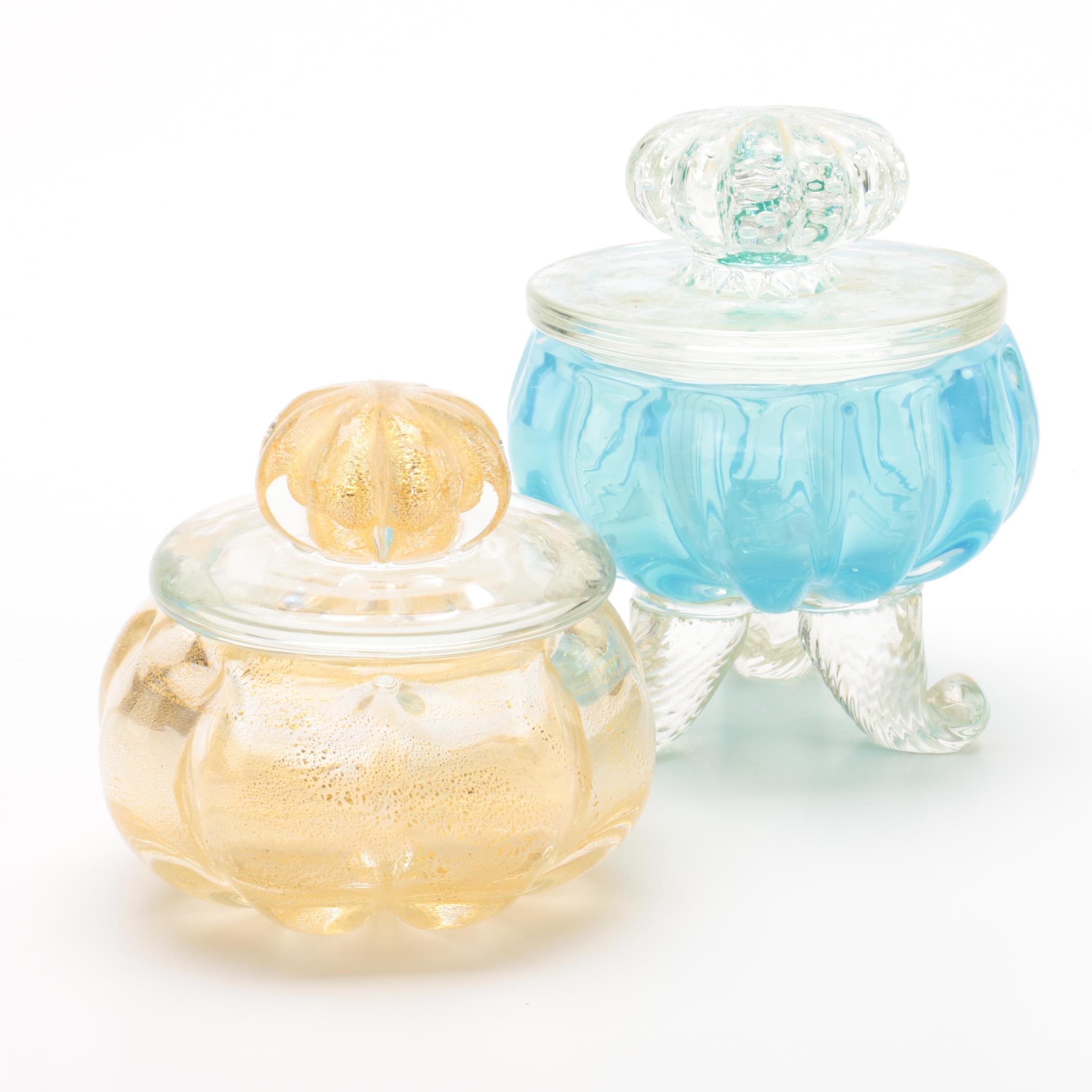 Vintage Venetian Style Art Glass Trinket Boxes