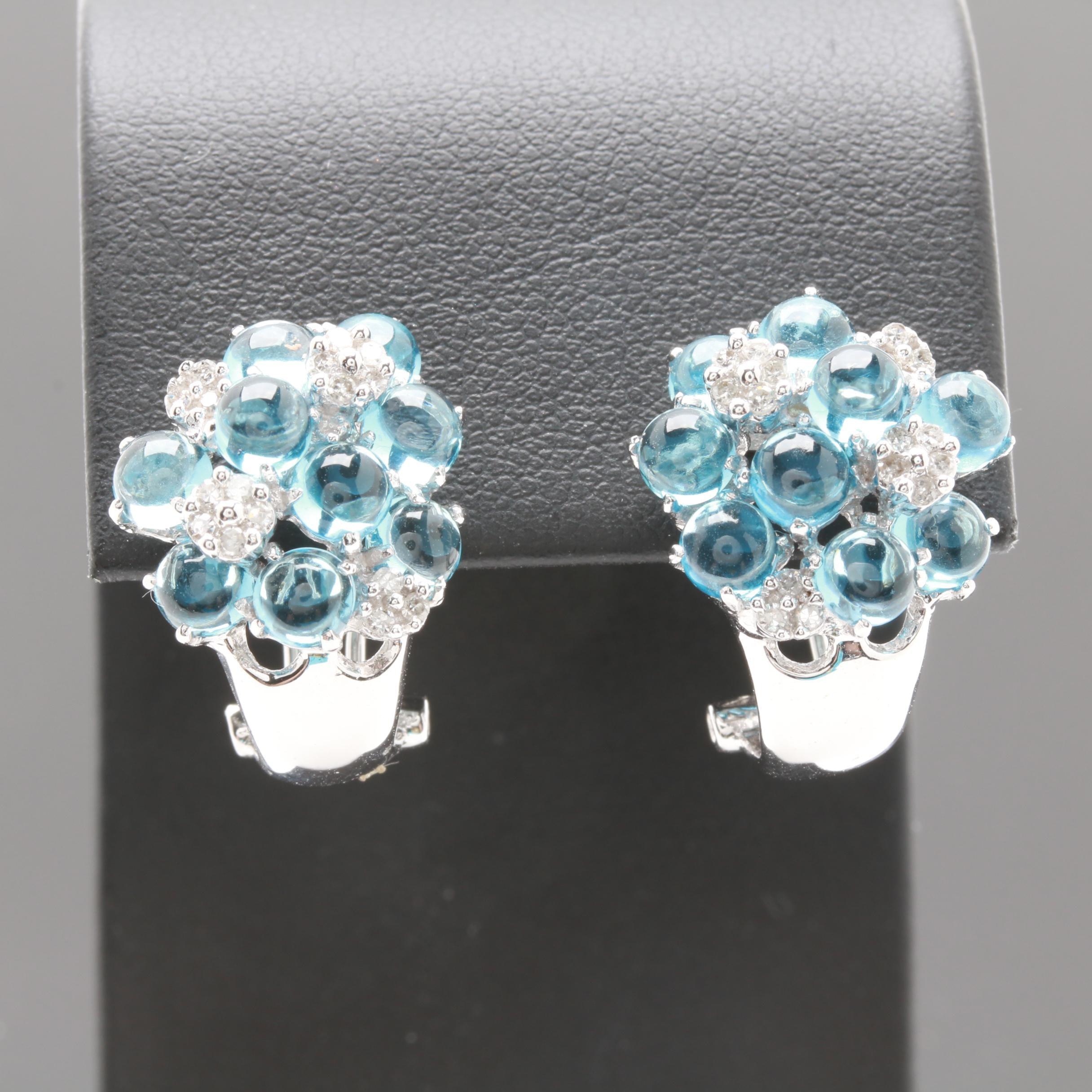 14K White Gold Blue Topaz and Diamond J-Hoop Earrings