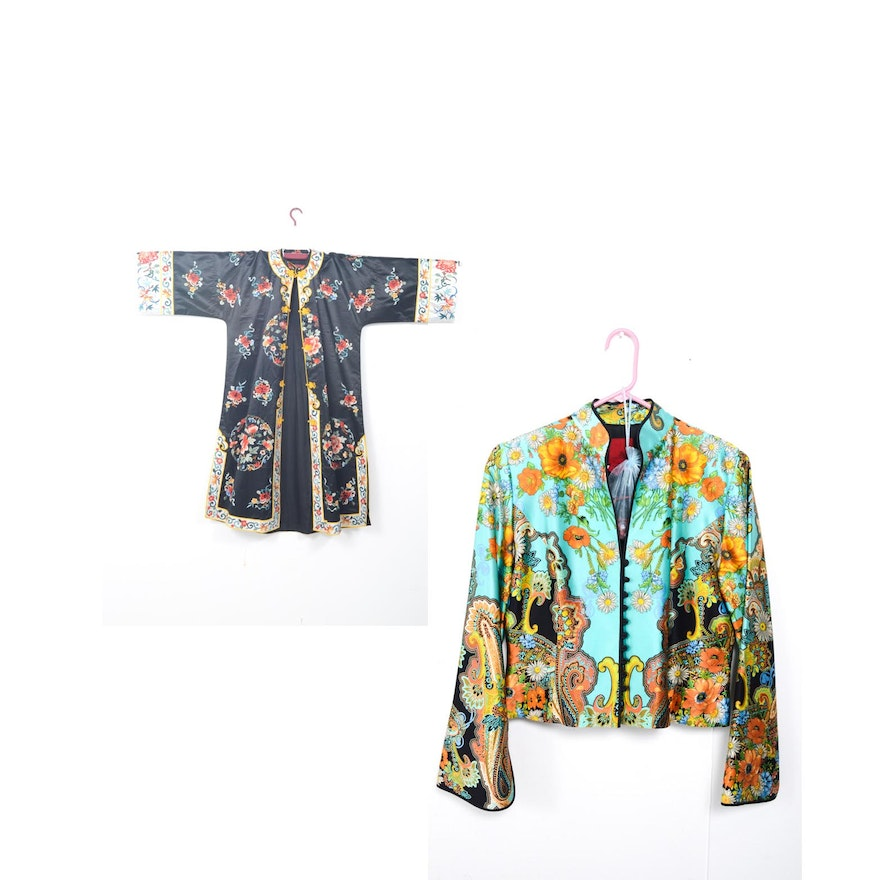 98a6a726d Women's Vintage Chinese Embroidered Silk Robe and Multicolored Jacket ...