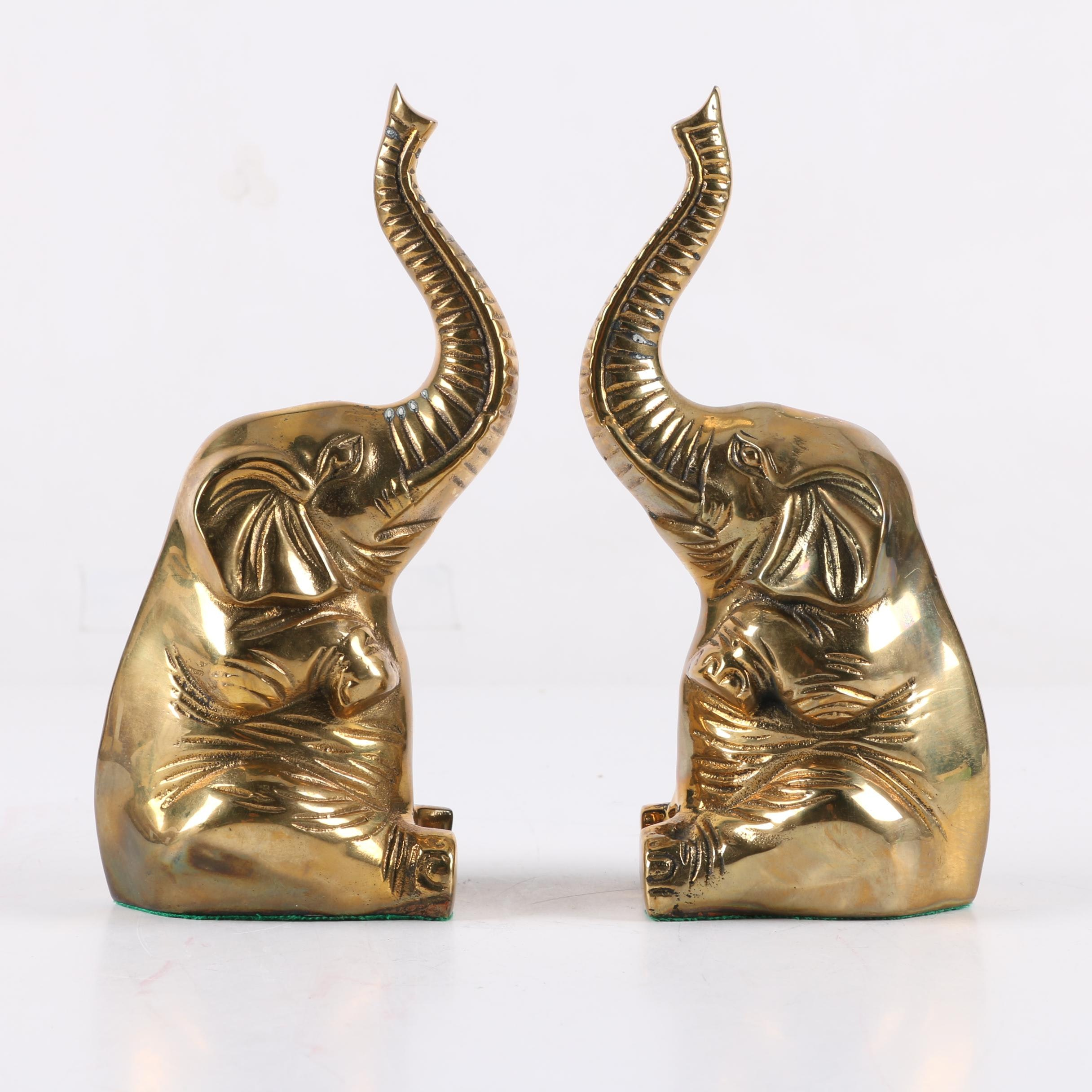 Pair of Vintage Brass Elephant Bookends