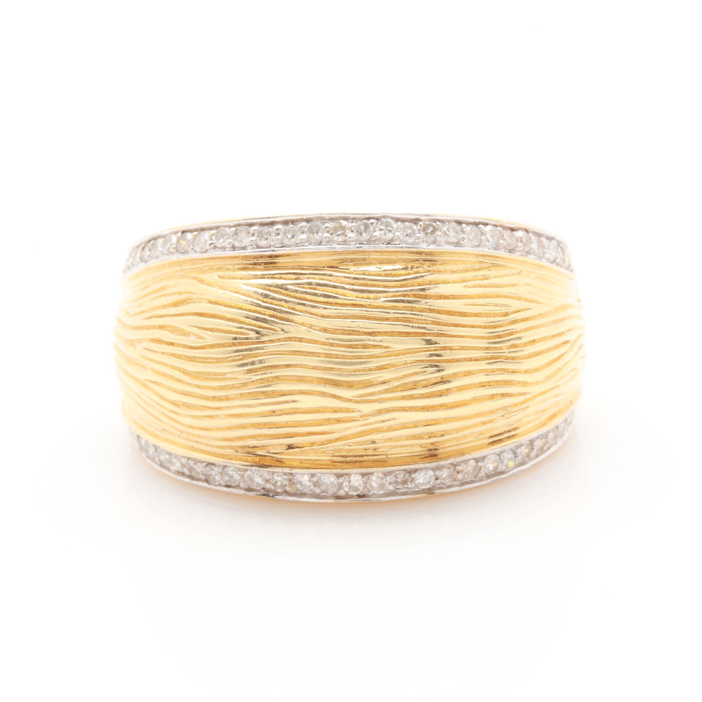 14K Yellow Gold Diamond Textured Dome Ring